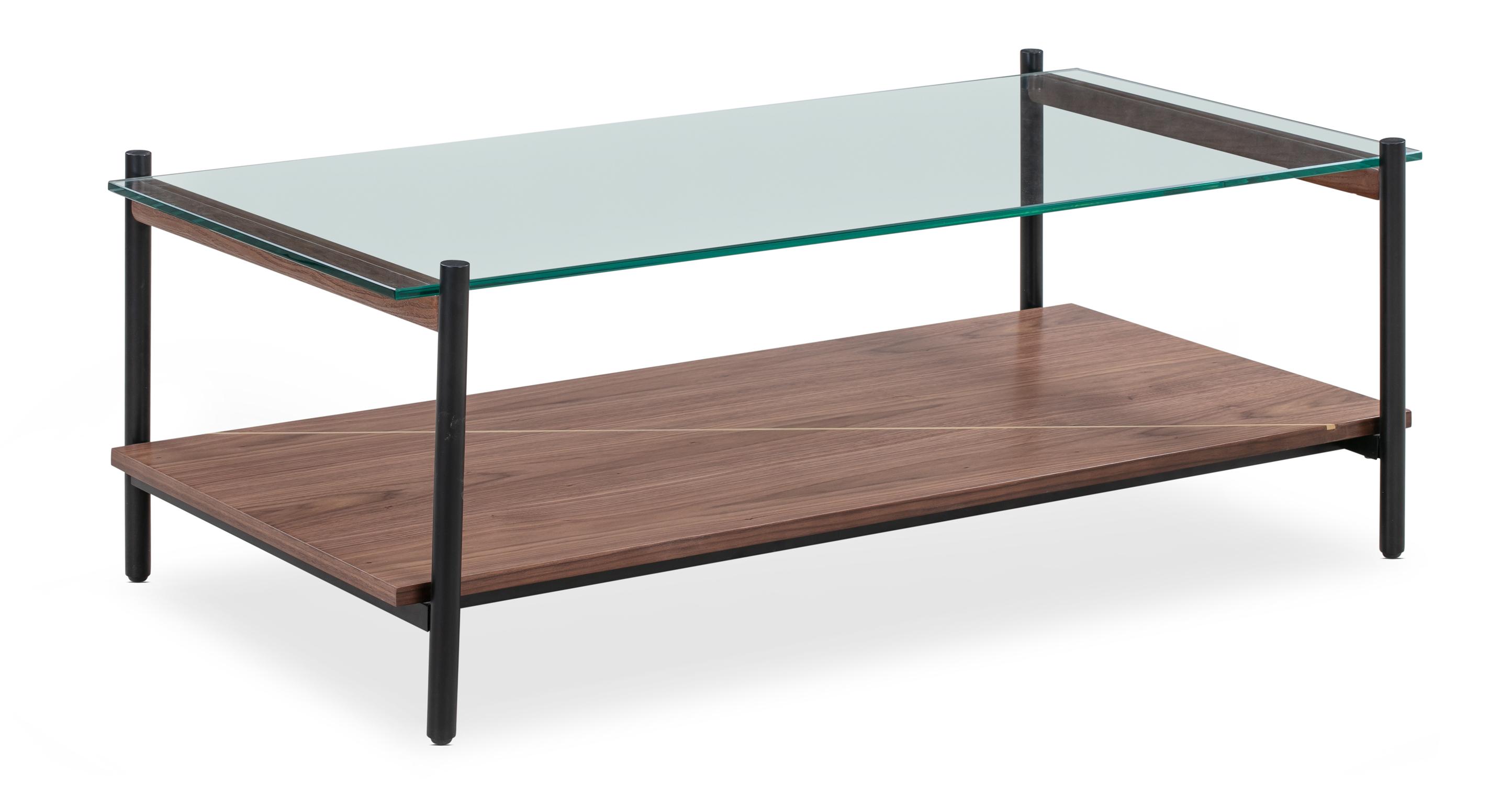 """Urbane 45"""" Coffee Table, Walnut Brass Inlay"""