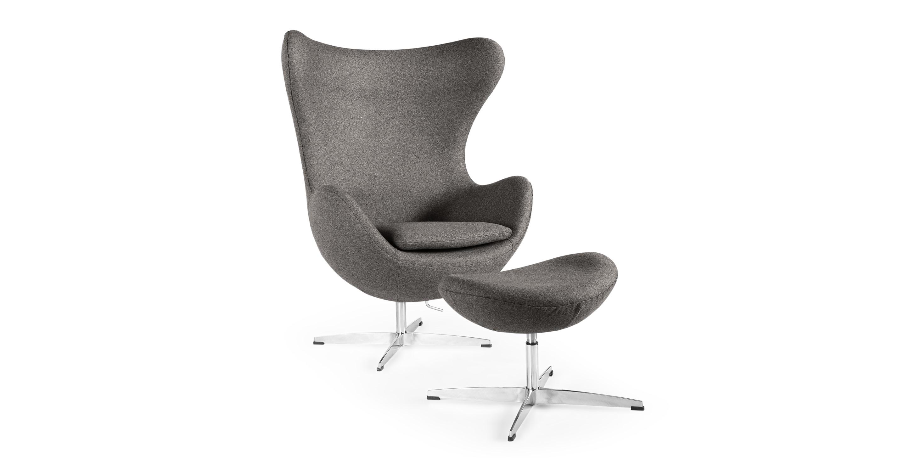 Amoeba Swivel Fabric Chair & Ottoman, Cadet Grey