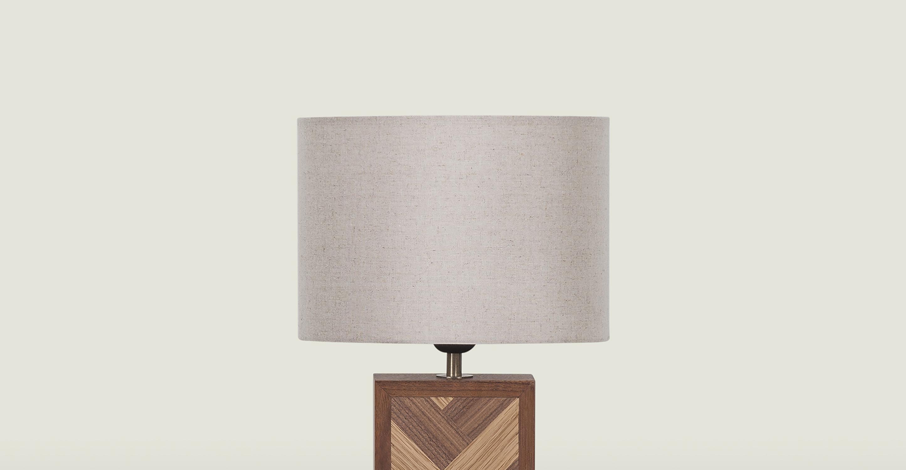Herringbone Table Lamp, White