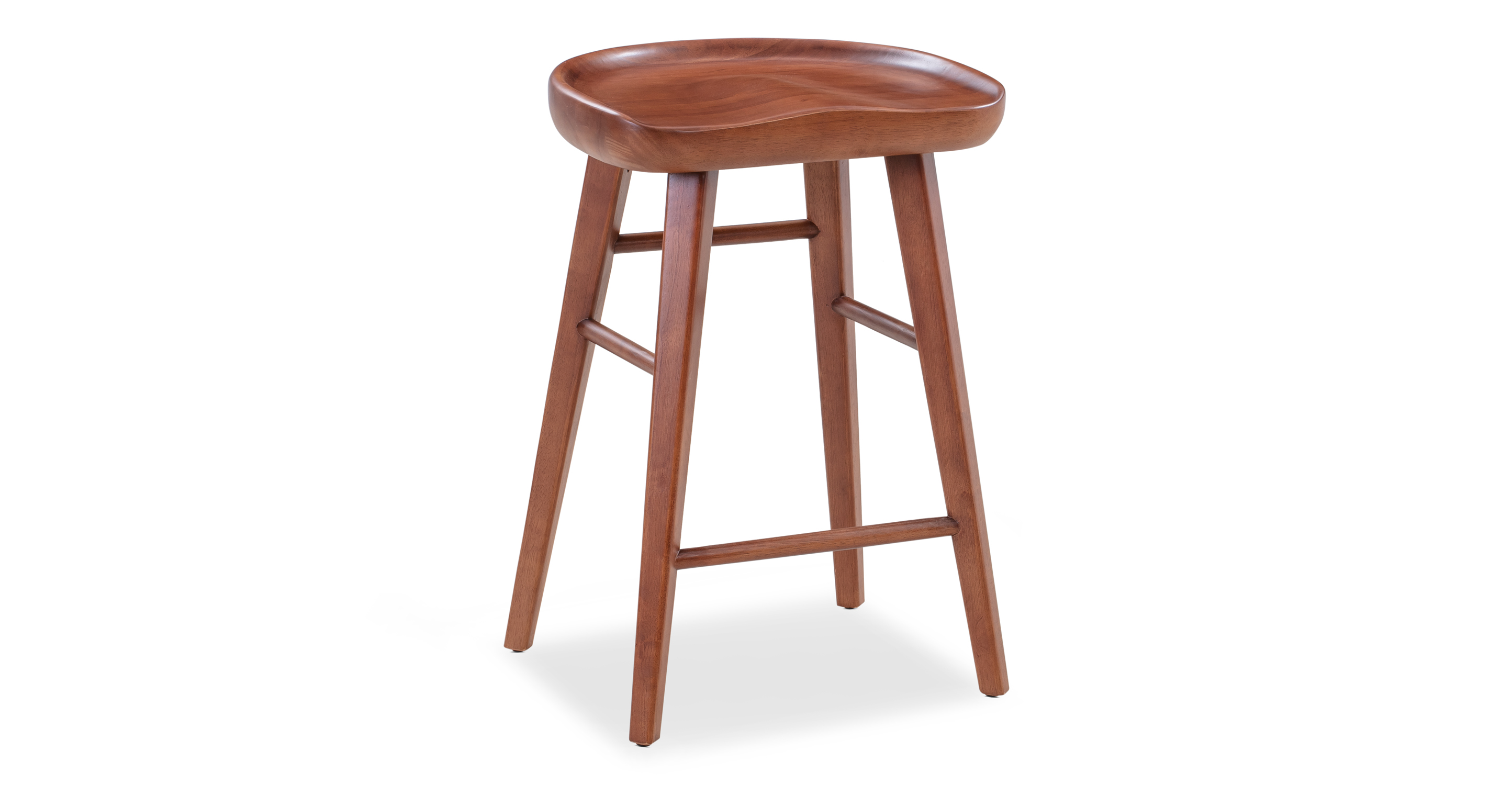 "Swell 24"" Round Counter Stool, Walnut"