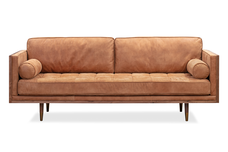 "Woodrow Skandi 87"" Leather Sofa, Walnut/Cognac"