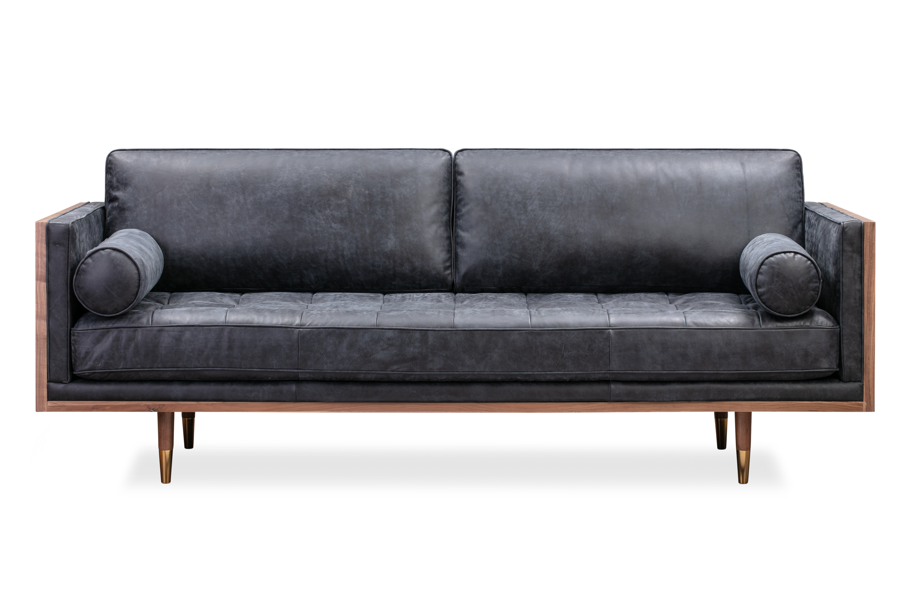 "Woodrow Skandi 87"" Leather Sofa, Walnut/Night"