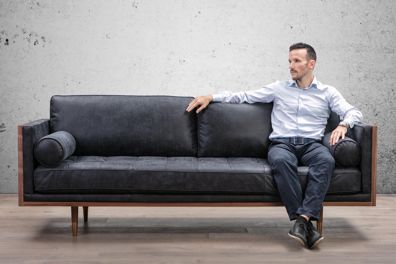 """Woodrow Skandi 87"""" Leather Sofa, Walnut/Night"""