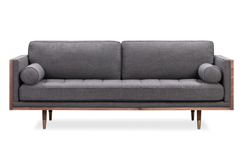 "Woodrow Skandi 87"" Fabric Sofa, Walnut/Dior Grey"