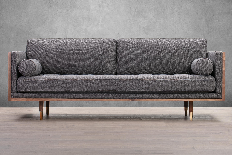 "Woodrow Skandi 87"" Twill Sofa, Walnut/Dior Grey"
