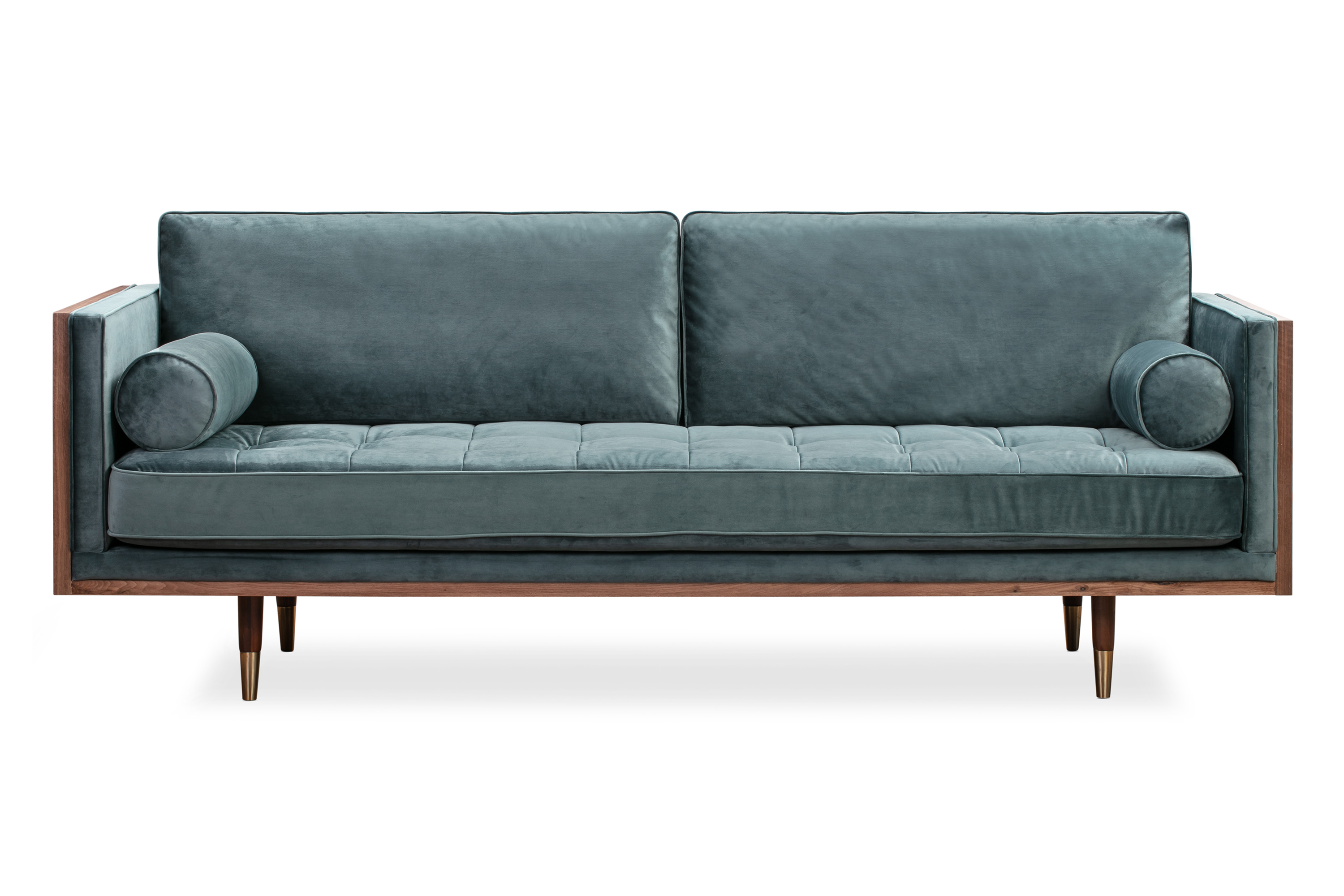 "Woodrow Skandi 87"" Fabric Sofa, Walnut/Prussian Velvet"