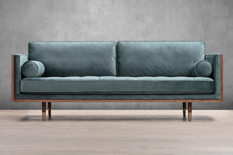 """Woodrow Skandi 87"""" Velvet Sofa, Walnut/Prussian"""