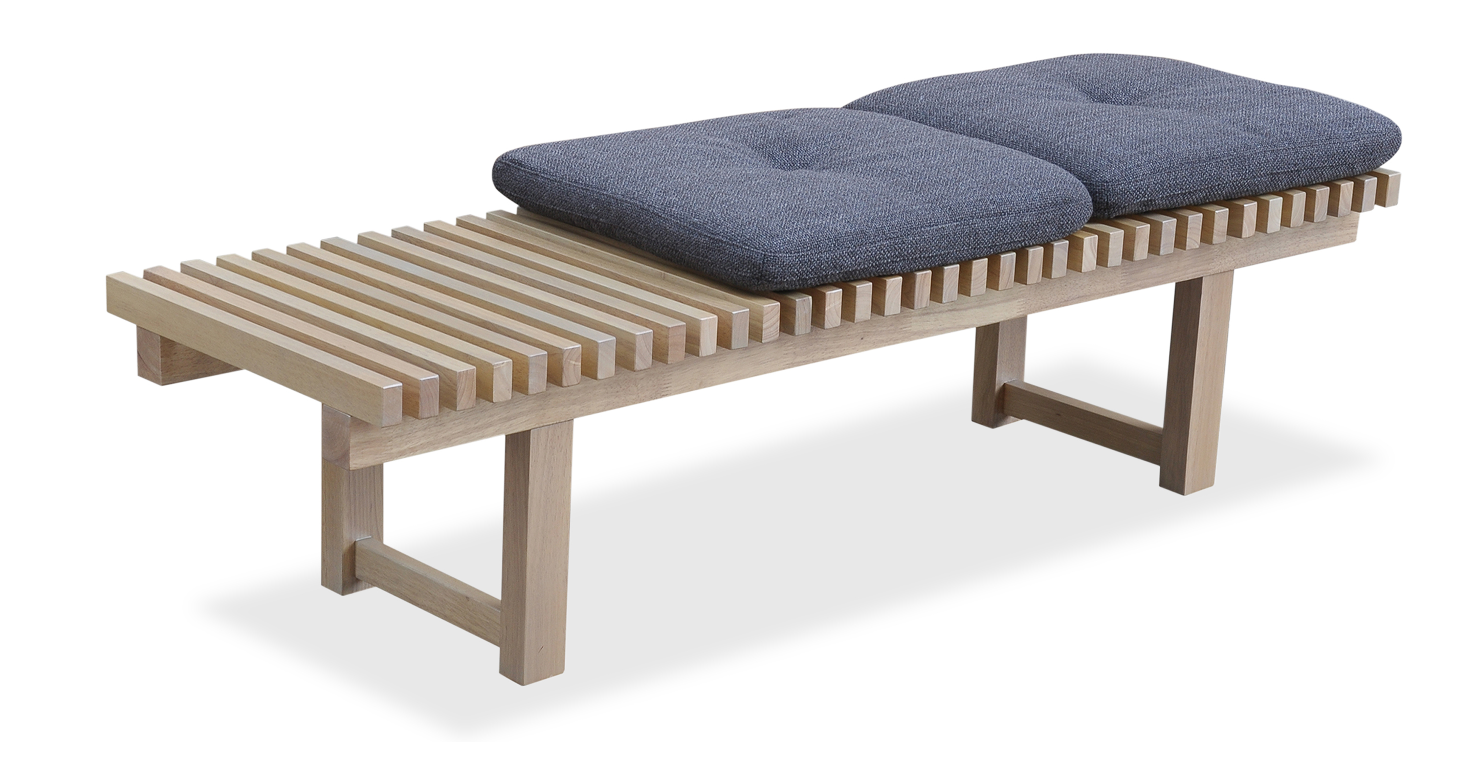 "Slat 59"" Fabric Bench, Natural/Elyx Dior Grey"