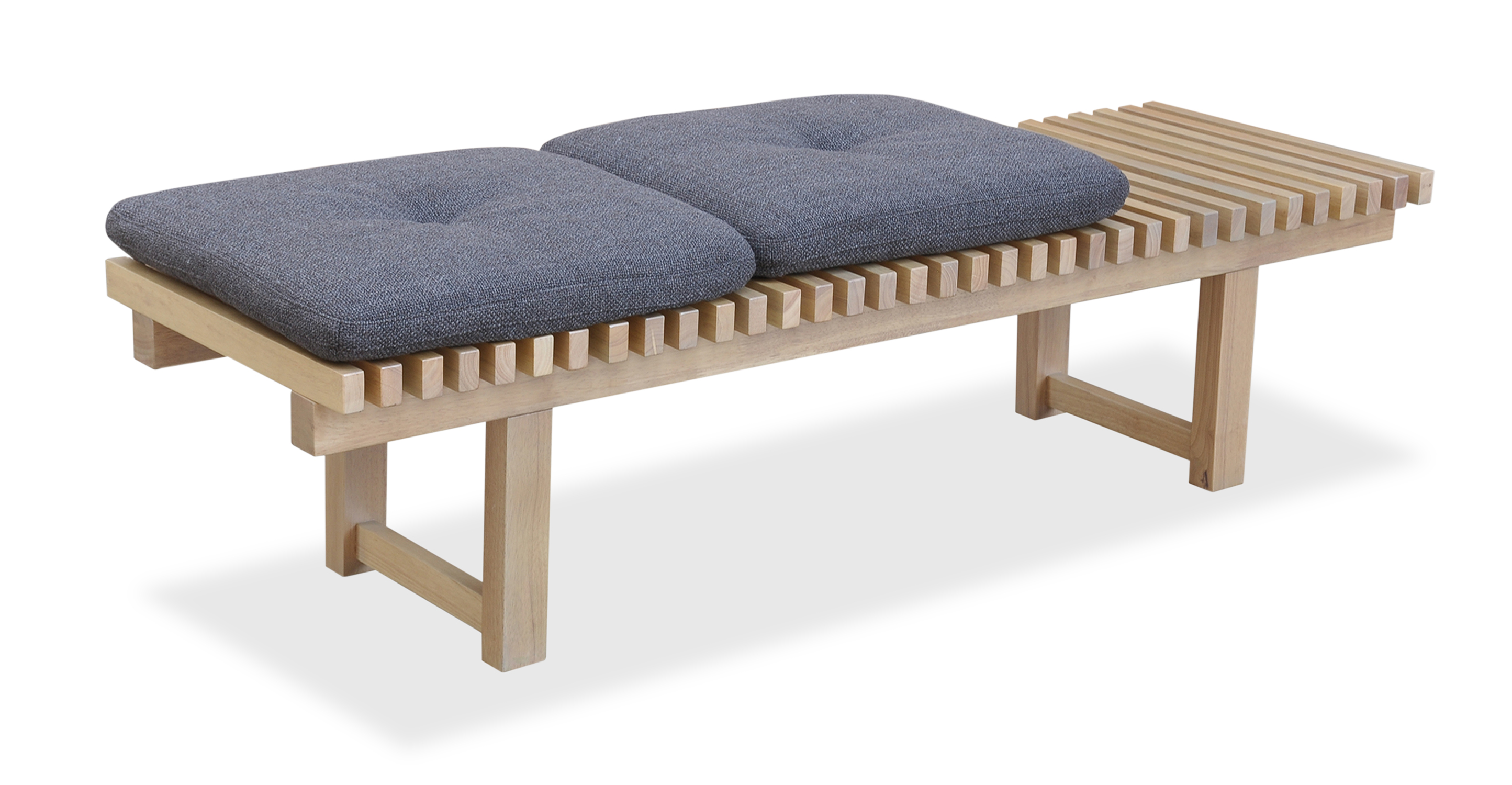 "Slat 42"" Fabric Bench, Dior/Natural"