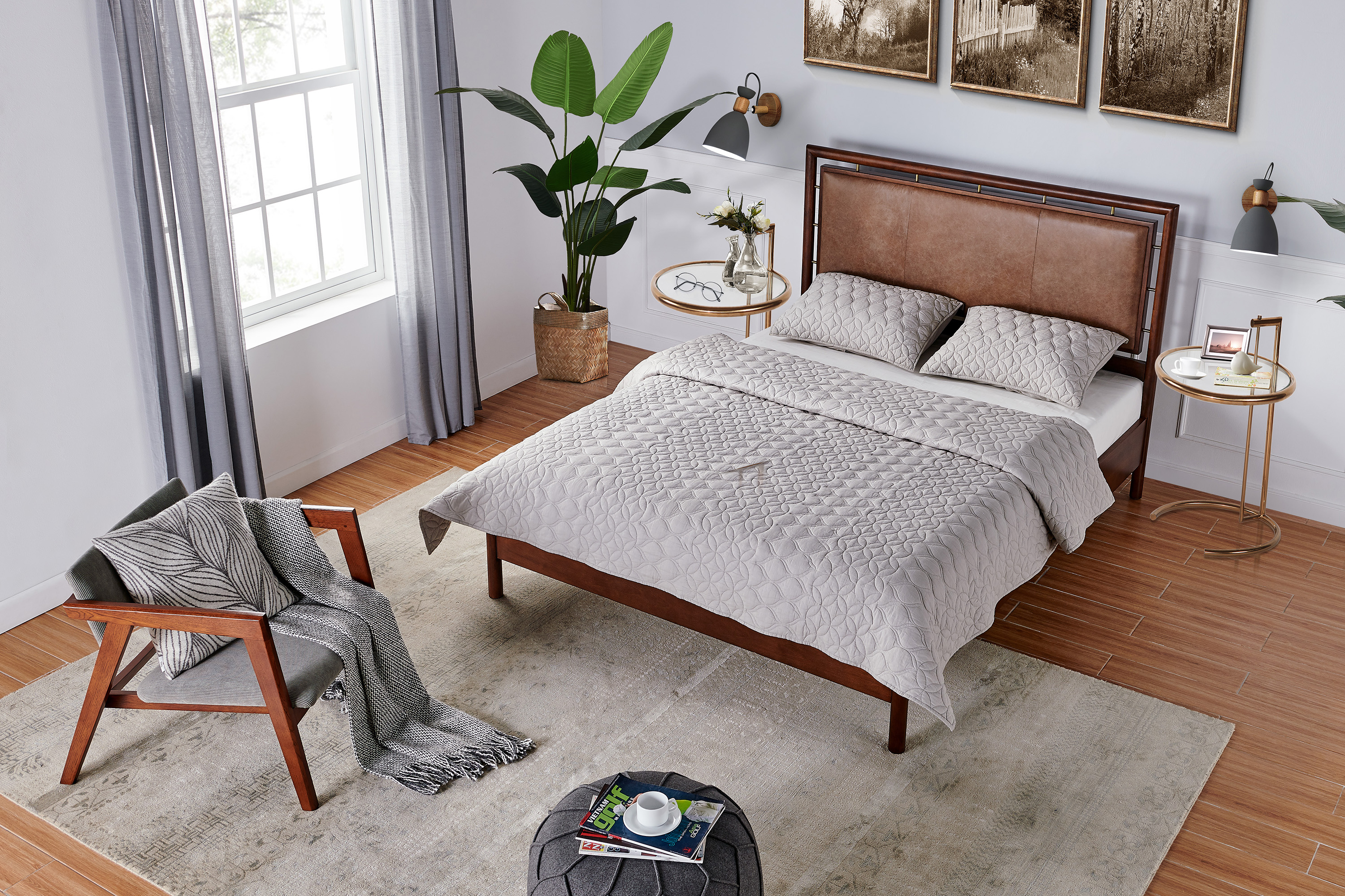 Westwood Bed Queen, Tan Leather/Walnut