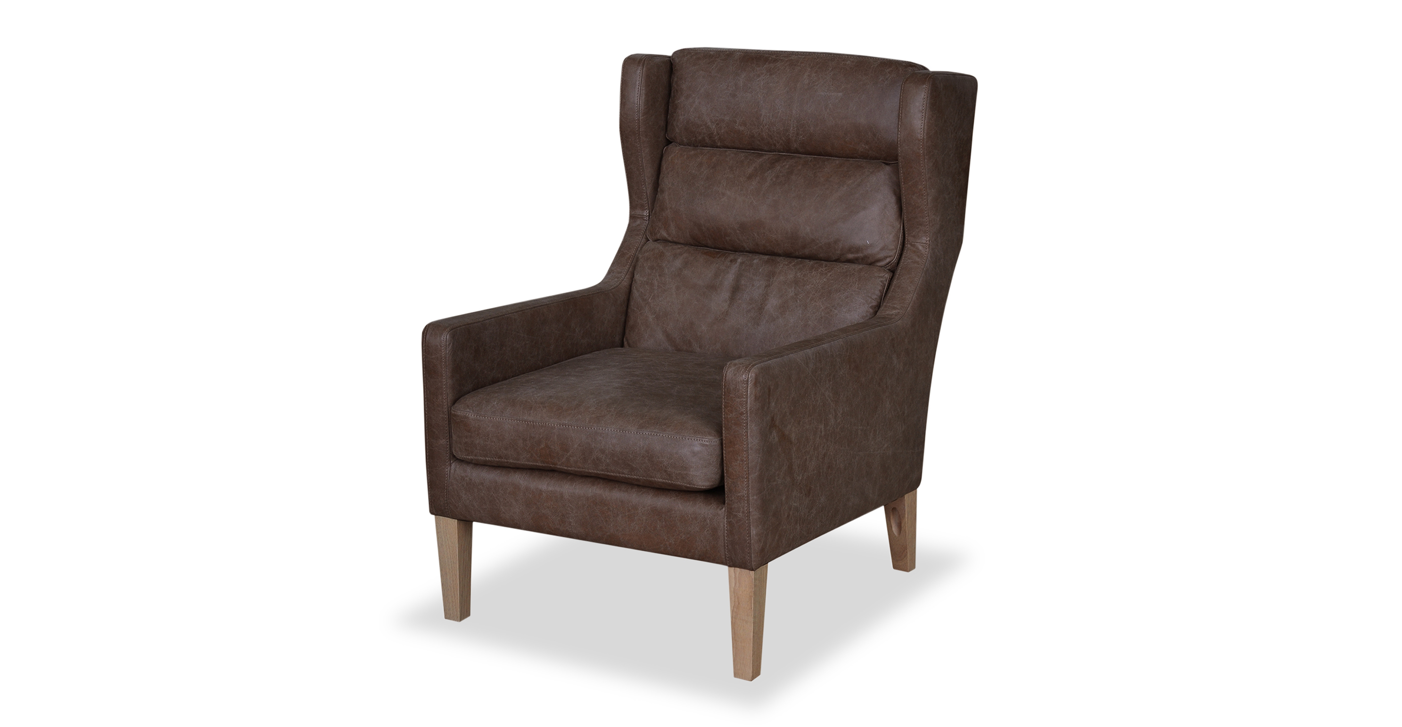 """Borge 26"""" Wing Leather Chair, Napoli Tan"""