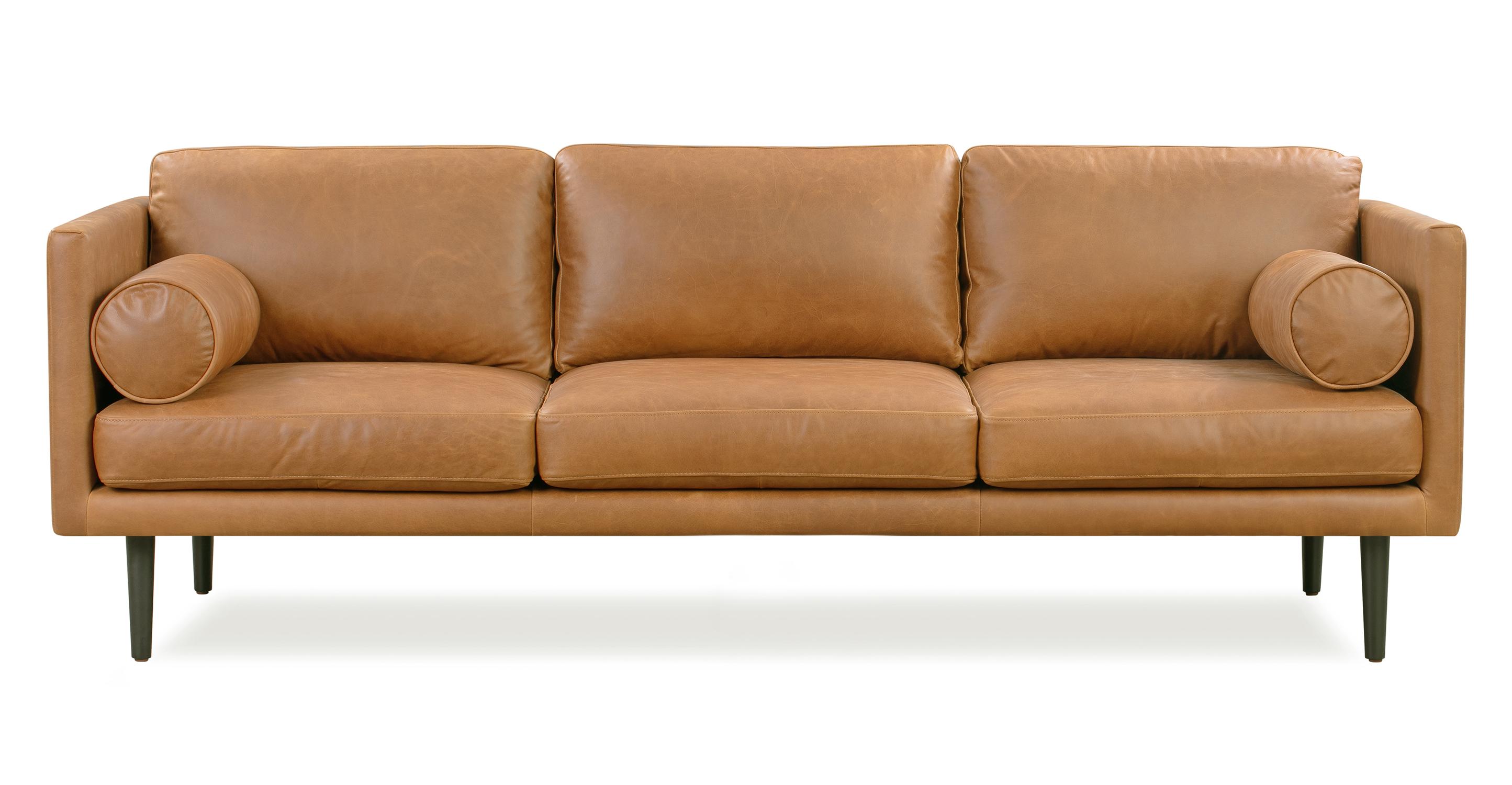 """Spectre 81"""" Leather Sofa, Cider Top Grain Semi Aniline"""