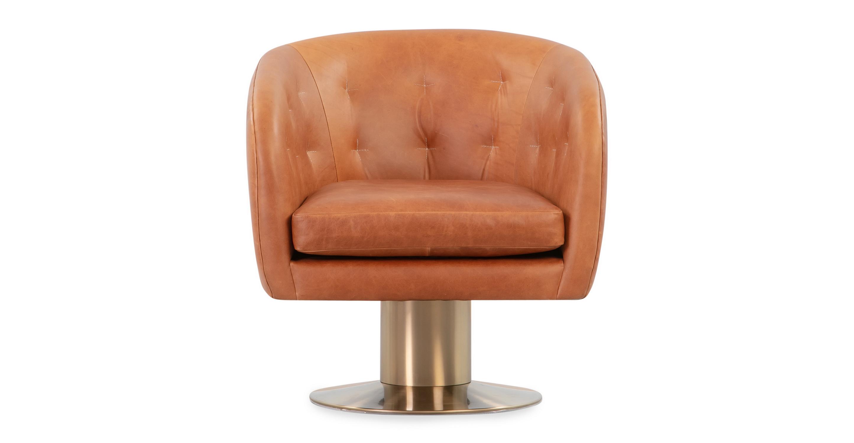 Drum 29 Brass Leather Chair Milano Cigar Kardiel