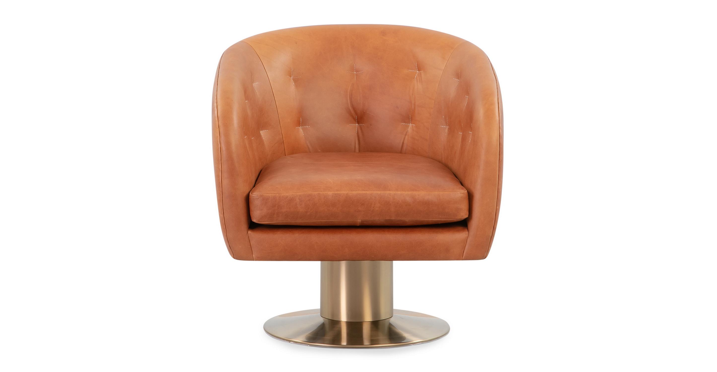 "Drum 29"" Brass Leather Chair, Milano Cigar"