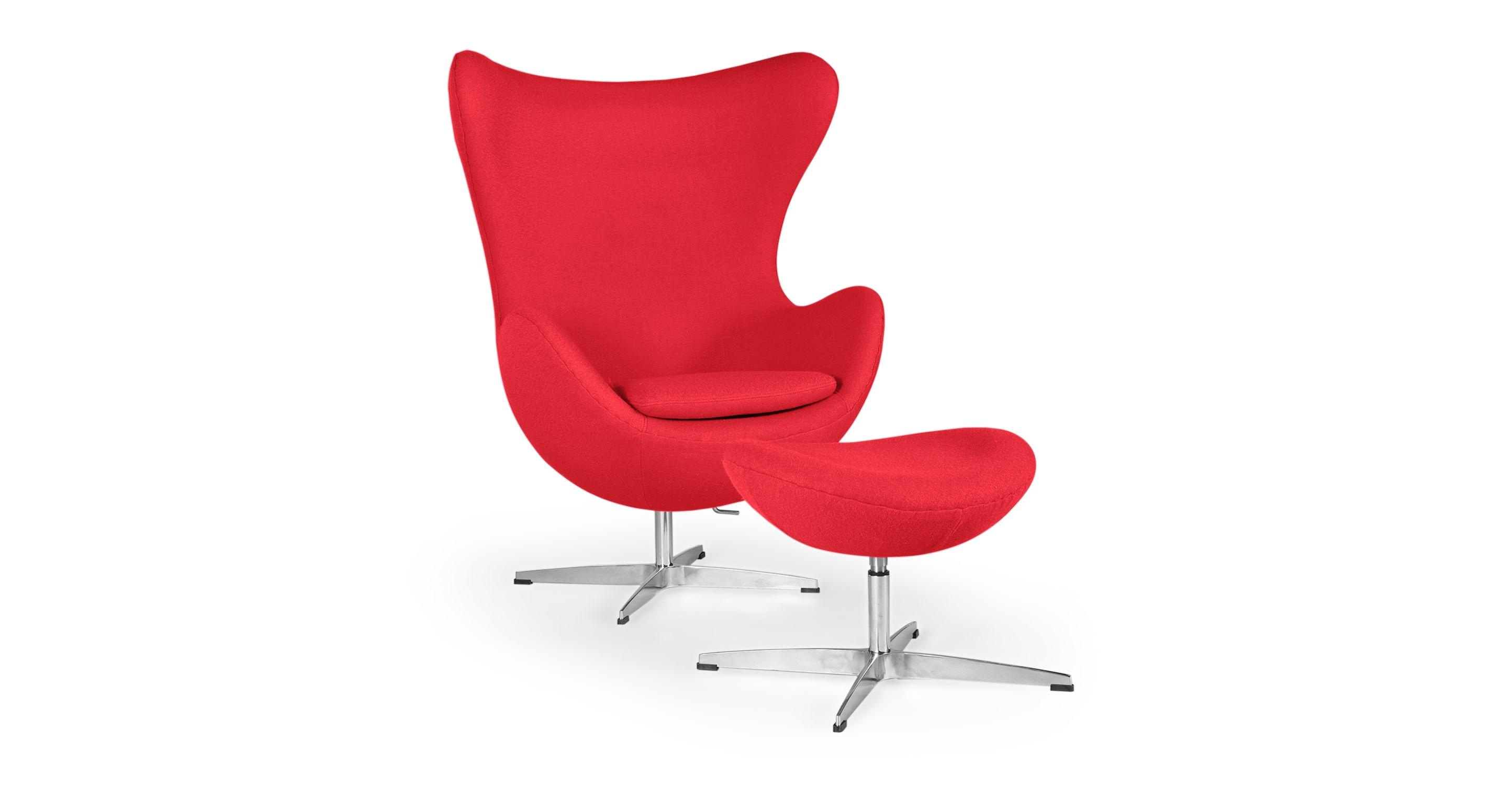 Amoeba Swivel Fabric Chair & Ottoman, Cherry Red