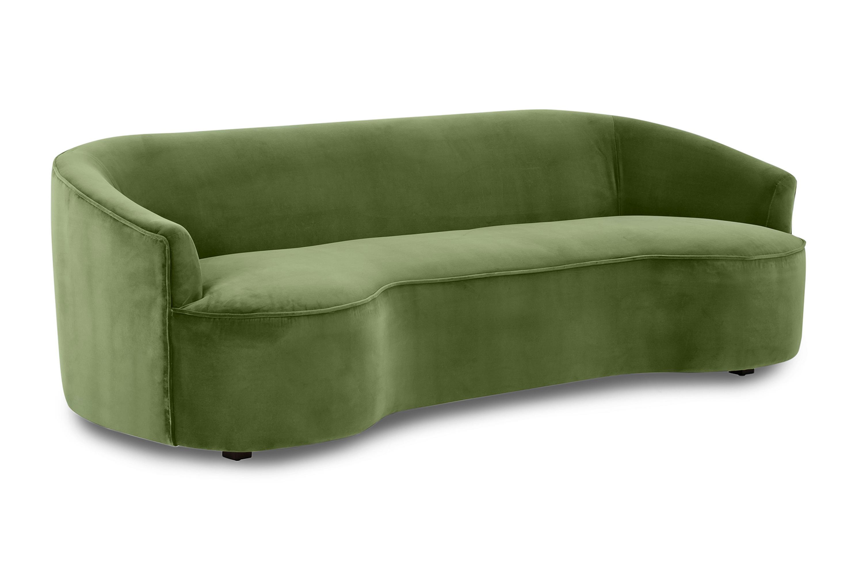 "Yasmin 84"" Fabric Sofa, Grass Velvet"