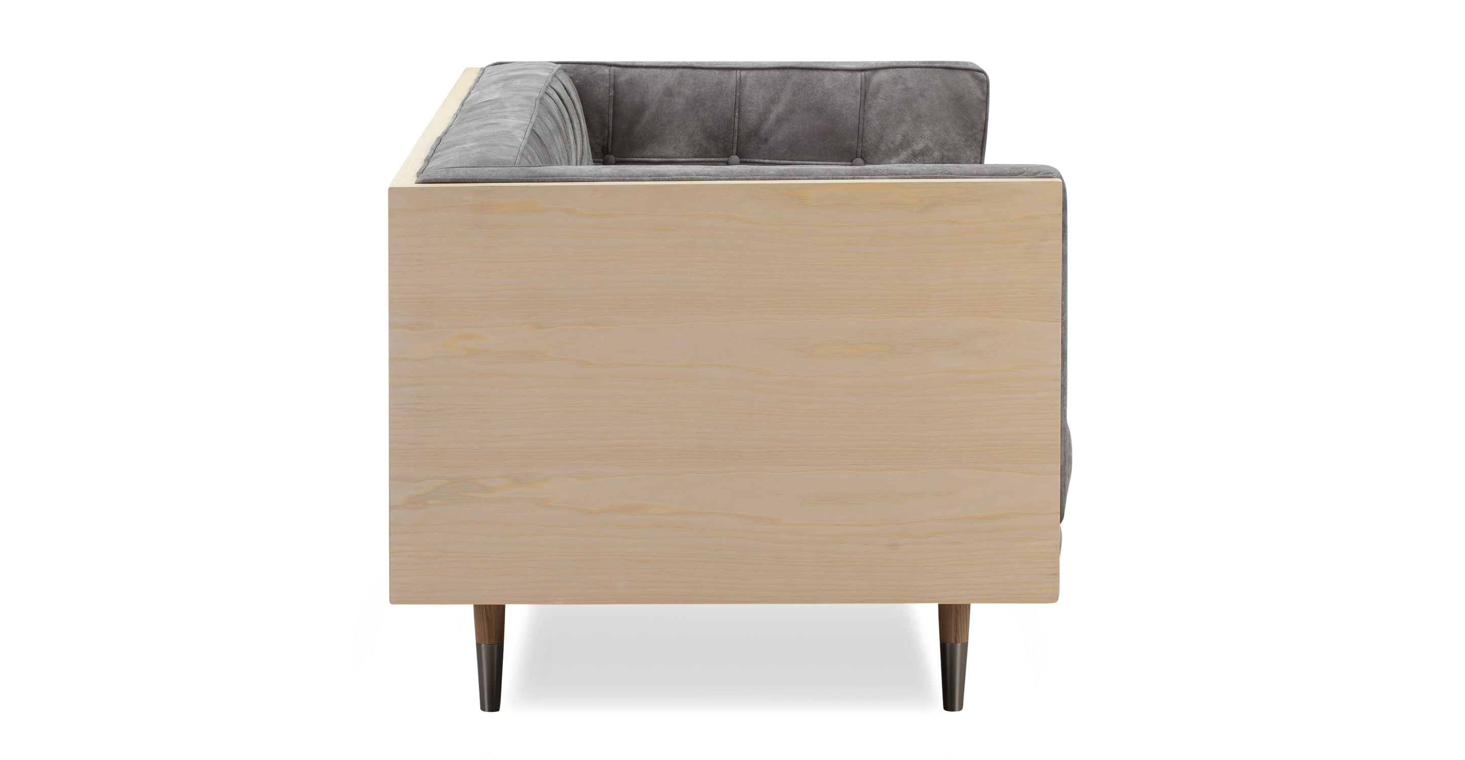 "Woodrow Box 71"" Sofa, Ash/Elefante Full Grain Aniline"