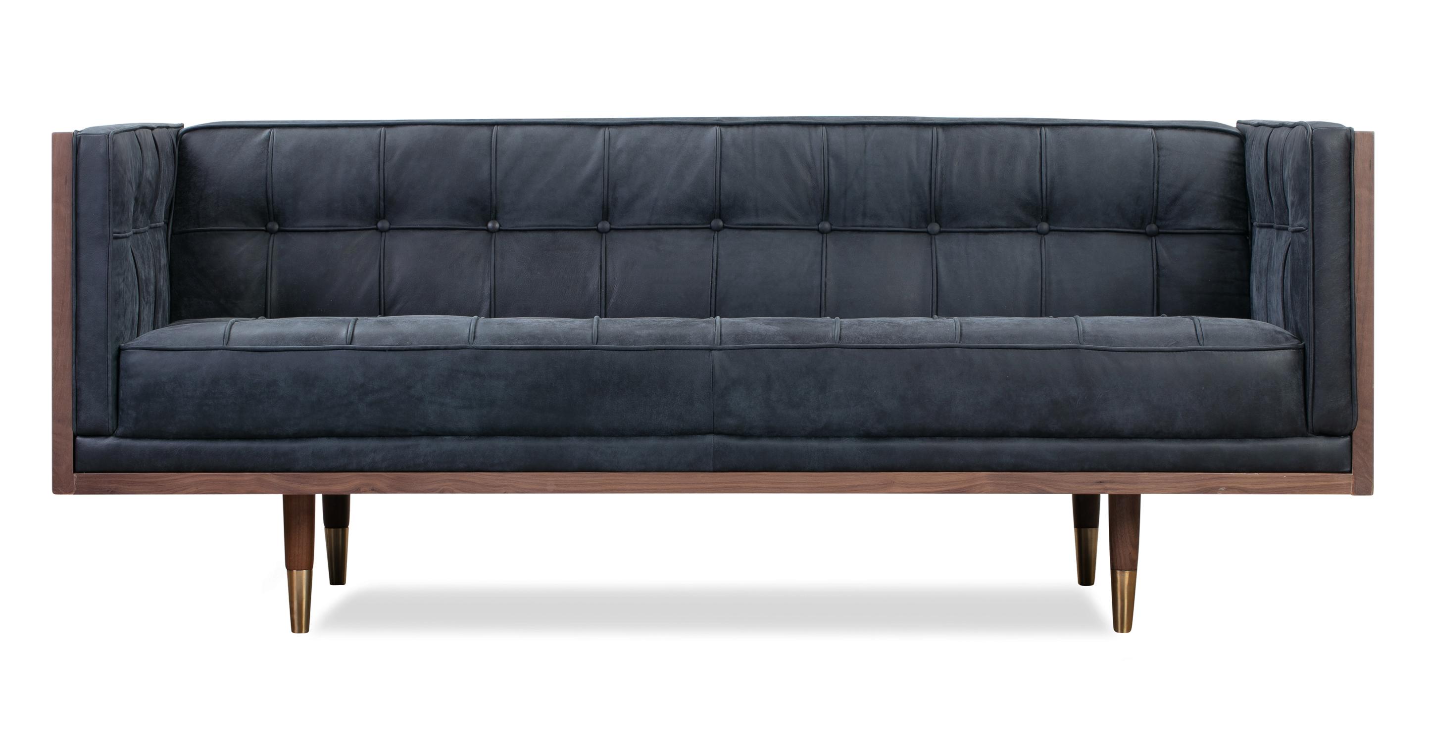 "Woodrow Box 71"" Leather Sofa, Walnut/Night"