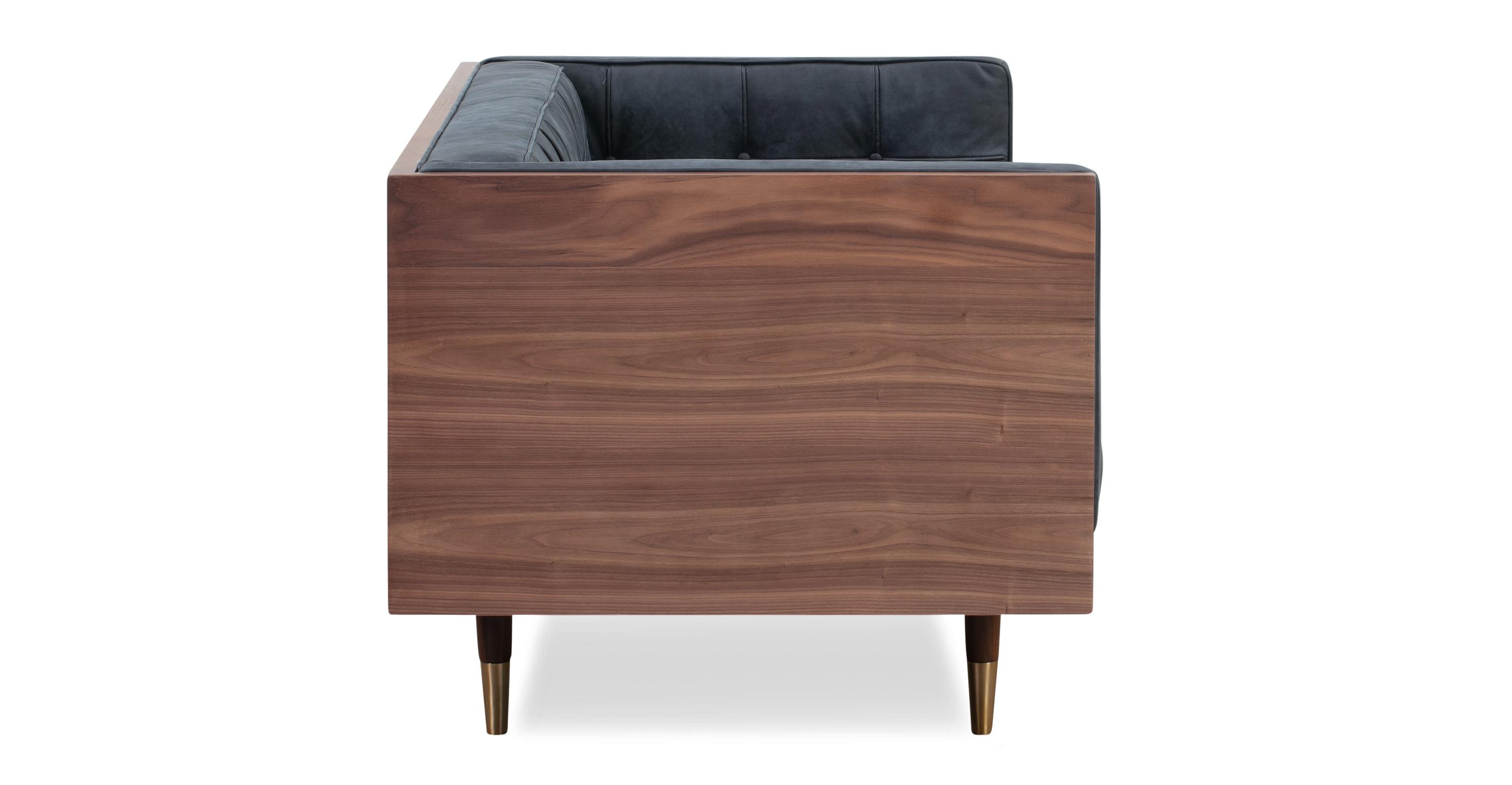 "Woodrow Box 71"" Sofa, Wal/Night Full Grain Aniline"