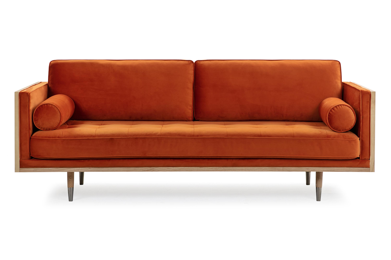 "Woodrow Skandi 87"" Fabric Sofa, Ash/Spice Velvet"