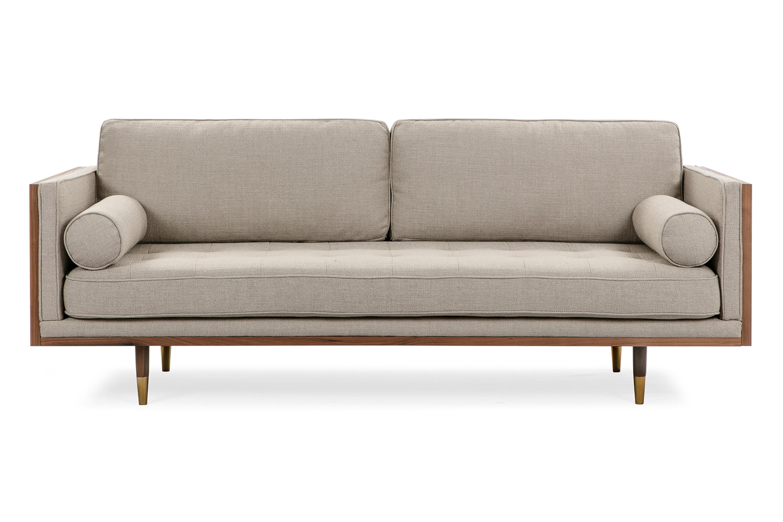 "Woodrow Skandi 87"" Fabric Sofa, Walnut/Dunes"
