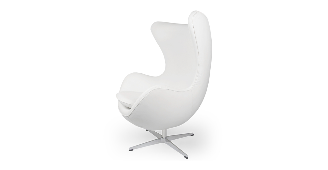 Amoeba Chair & Ottoman, Ecume White Premium Leather