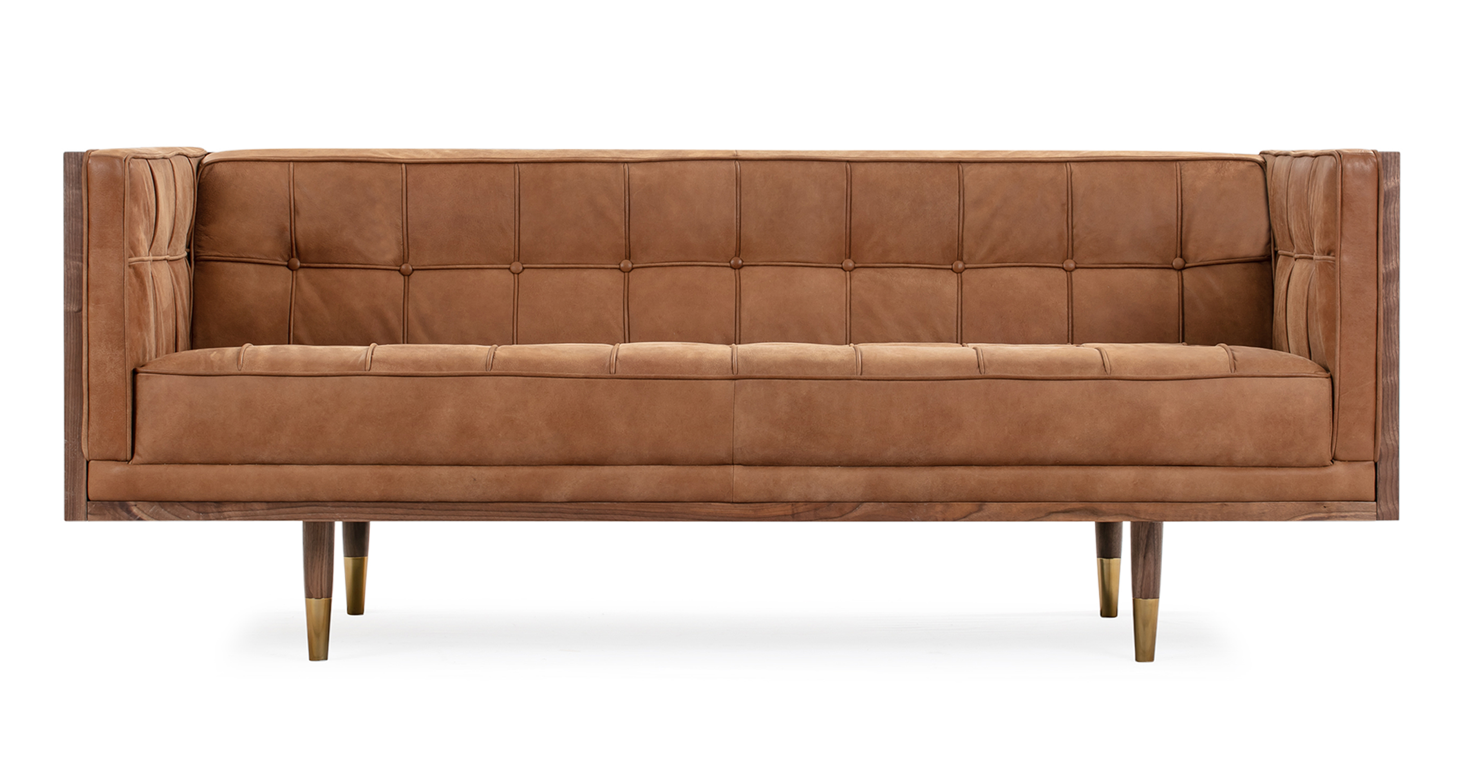 "Woodrow Box 71"" Leather Sofa, Walnut/Cognac"
