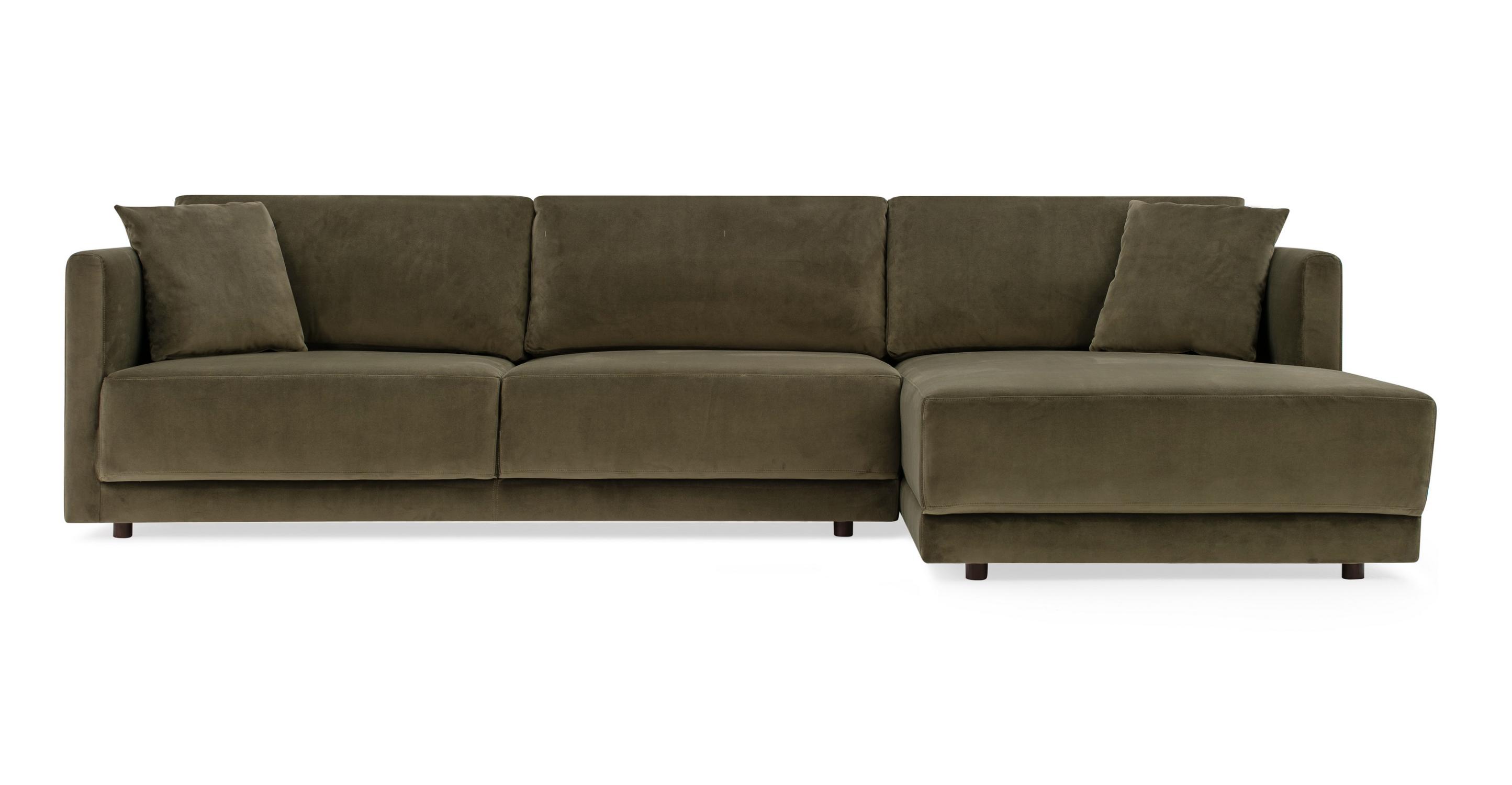 "Domus 115"" Fabric Sofa Sectional Right, Sage Velvet"