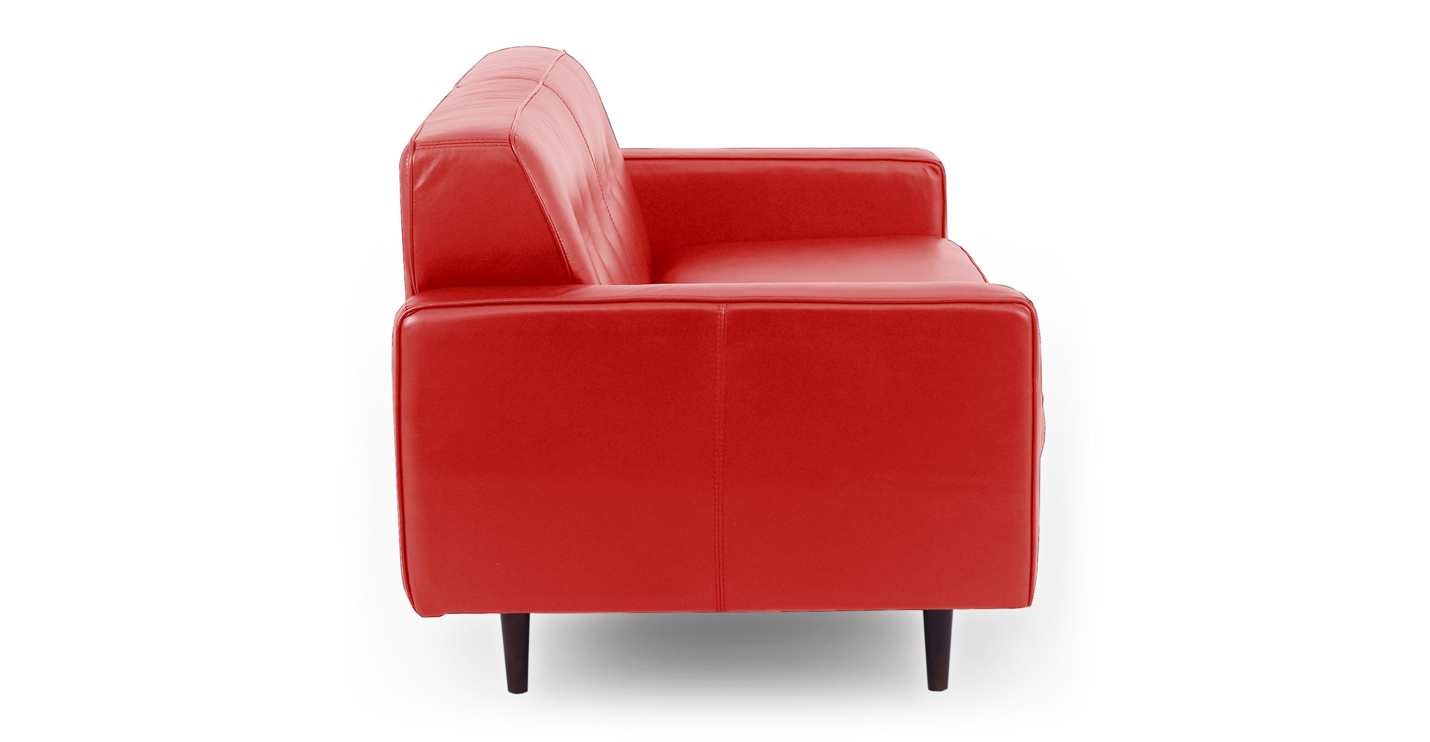"Eleanor 60"" Leather Sofa, Red Top Grain Aniline"