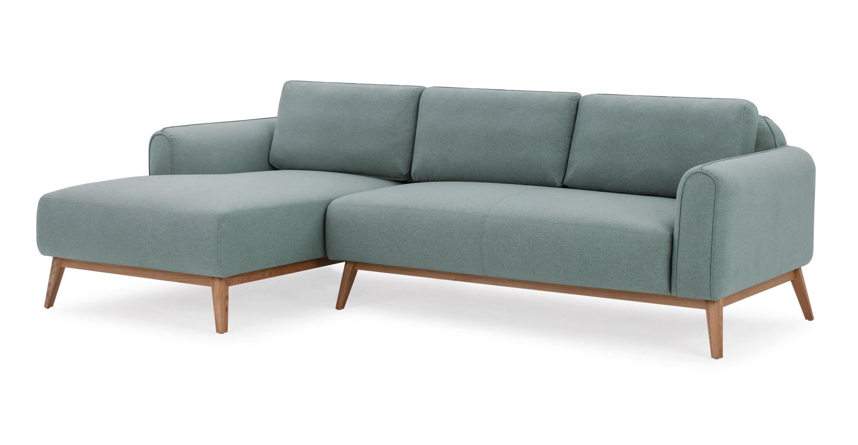 "Metro 100"" Fabric Sofa Sectional Left, Pigeon"