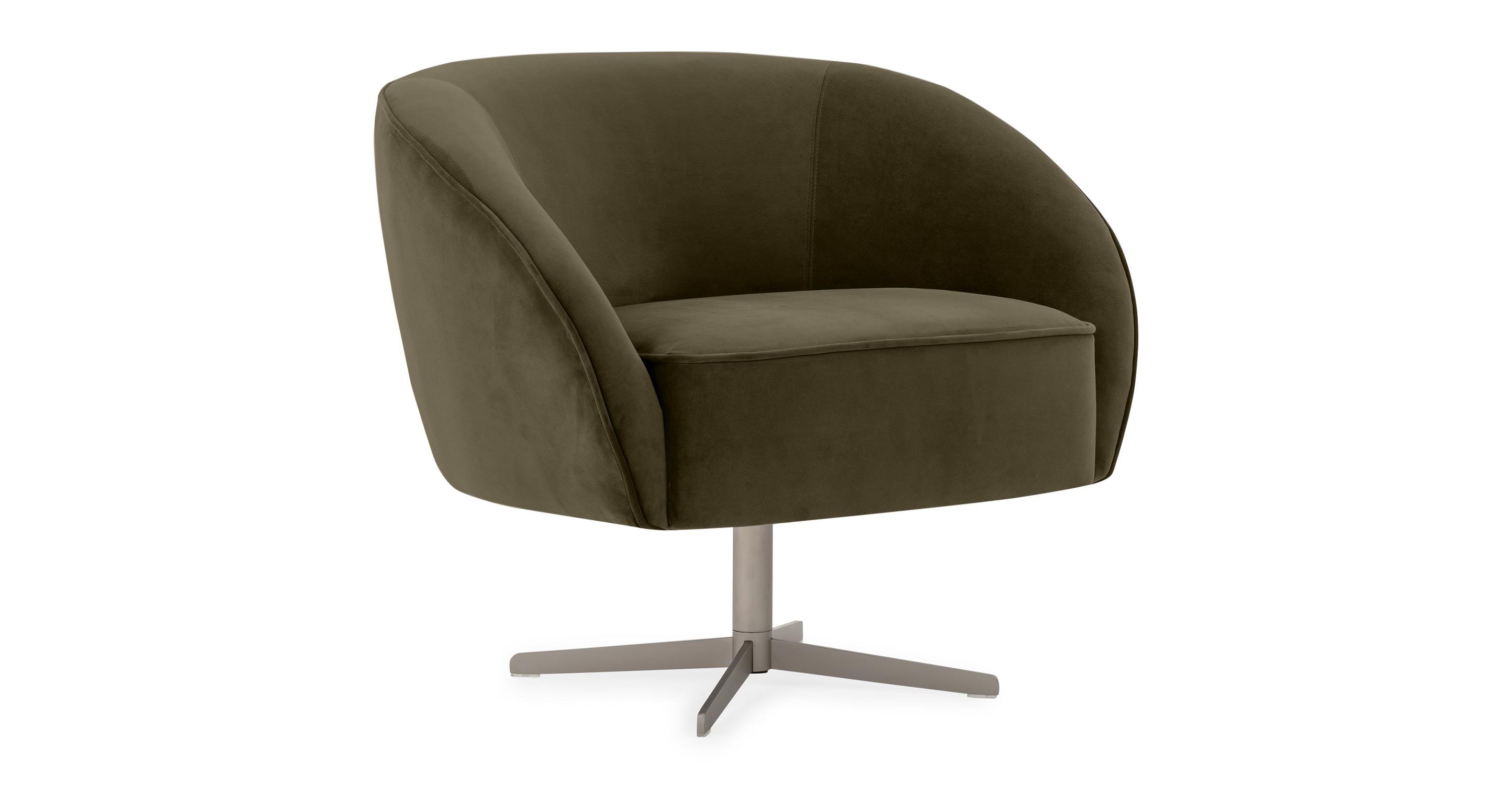 """Aria 34"""" Swivel Chair, Sage Velvet"""