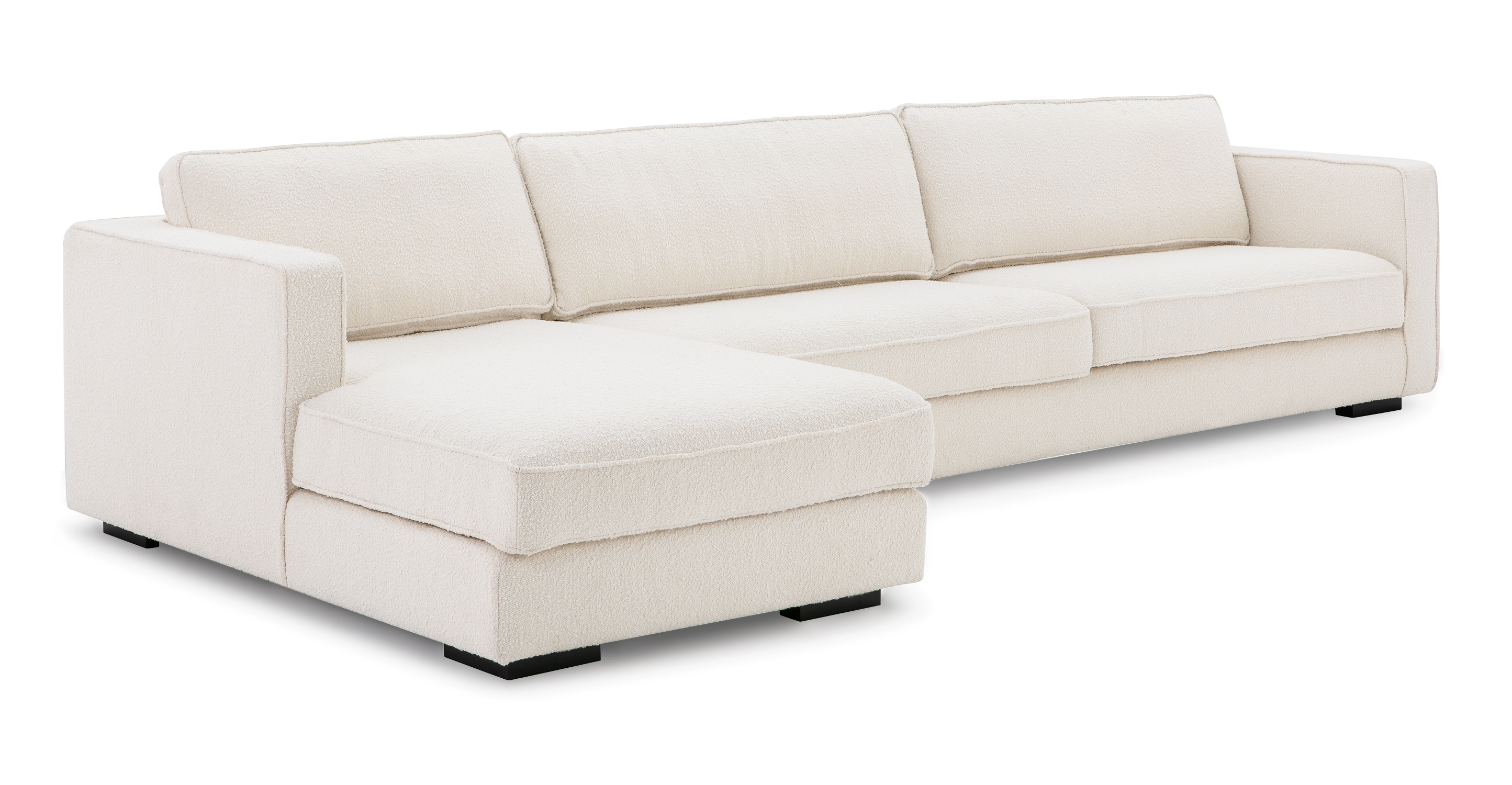 "Architect 133"" Fabric Sofa Sectional Left, Blanc Boucle"