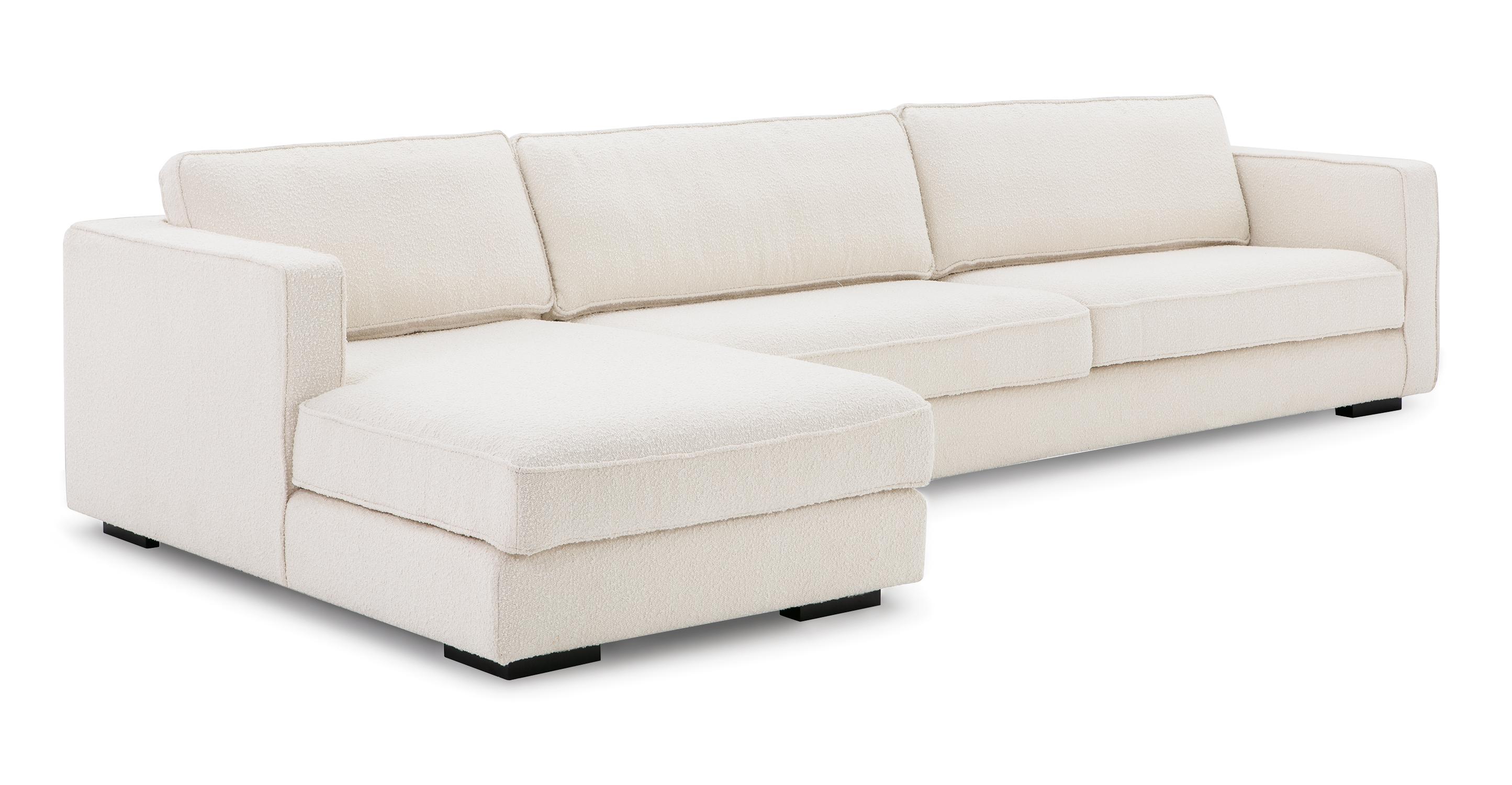 """Architect 133"""" Fabric Sofa Sectional Left, Blanc Boucle"""