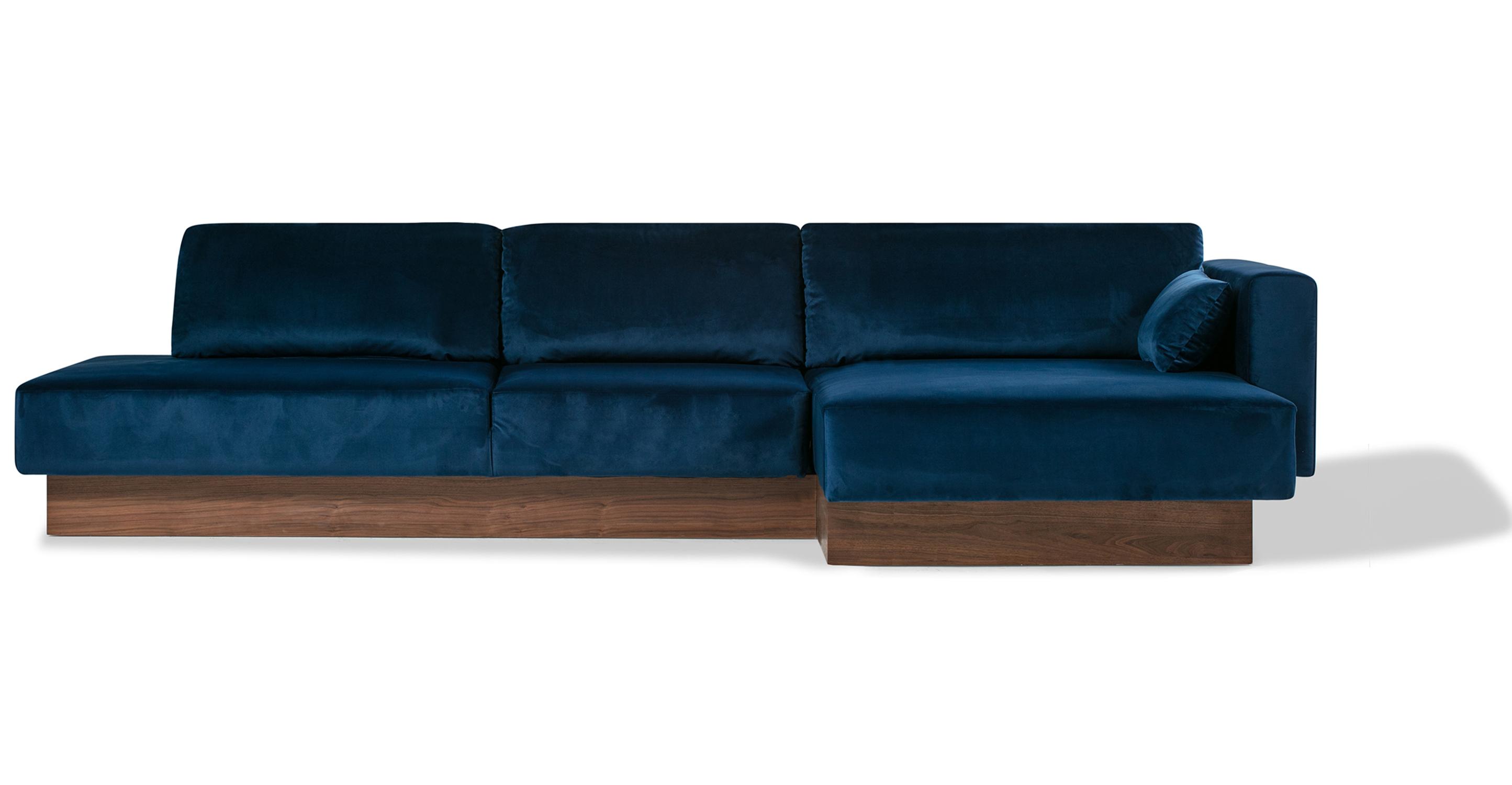 """Brady 128"""" Fabric Sofa Sectional Right, Danube Velvet"""