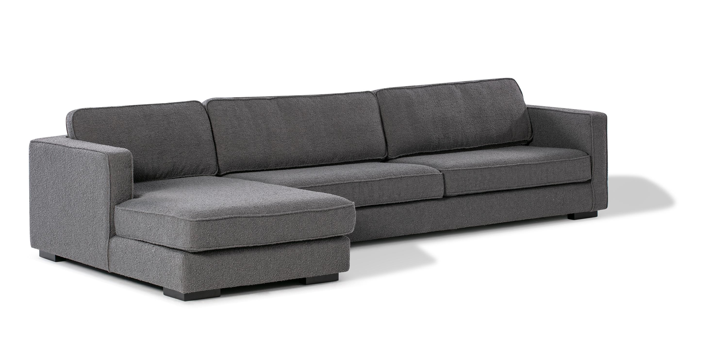 "Architect 133"" Fabric Sofa Sectional Left, Gris Boucle"