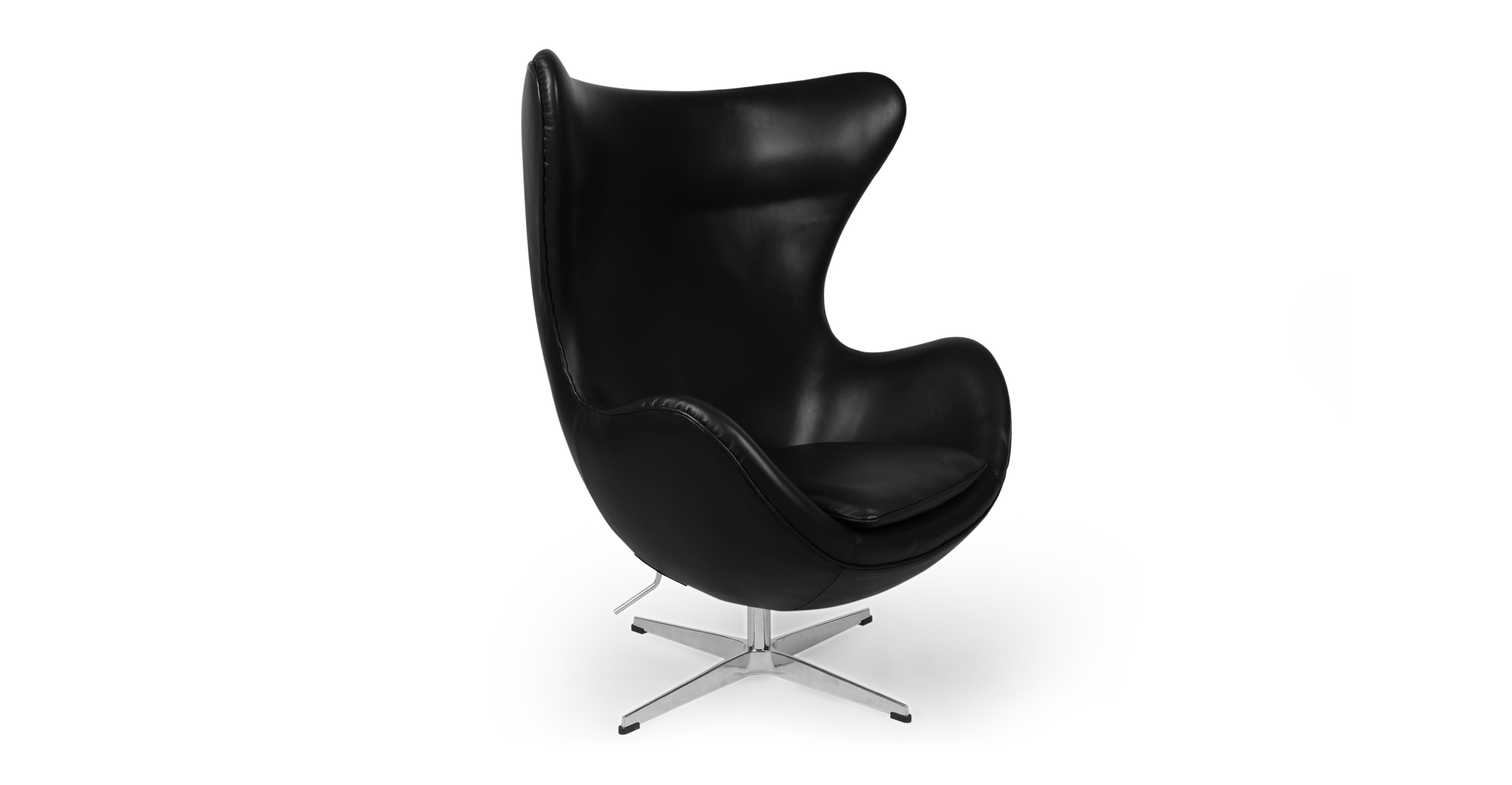 "Amoeba 35"" Swivel Leather Chair, Black"