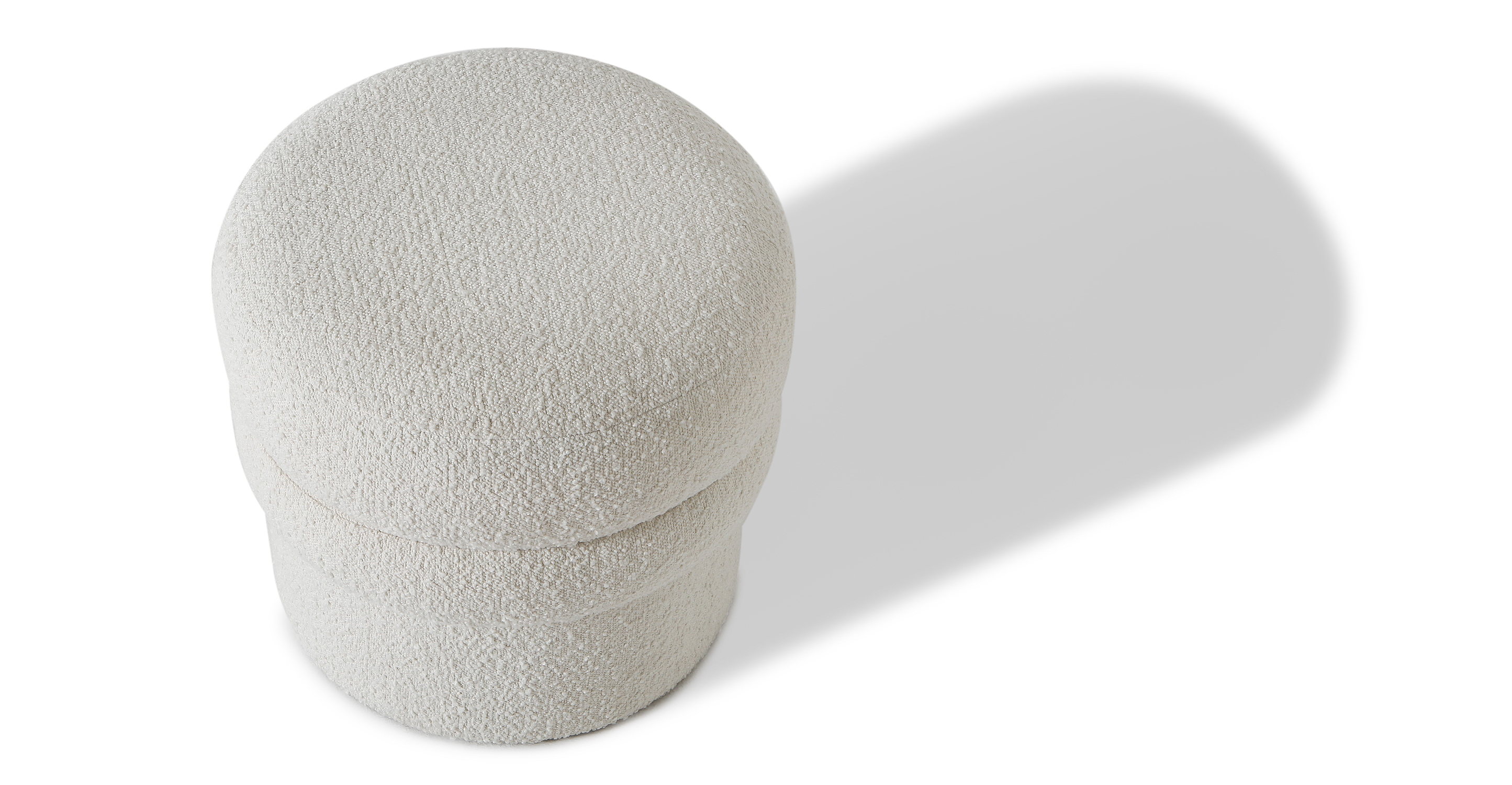 "Swagger 20"" Fabric Stool, Blanc Boucle"