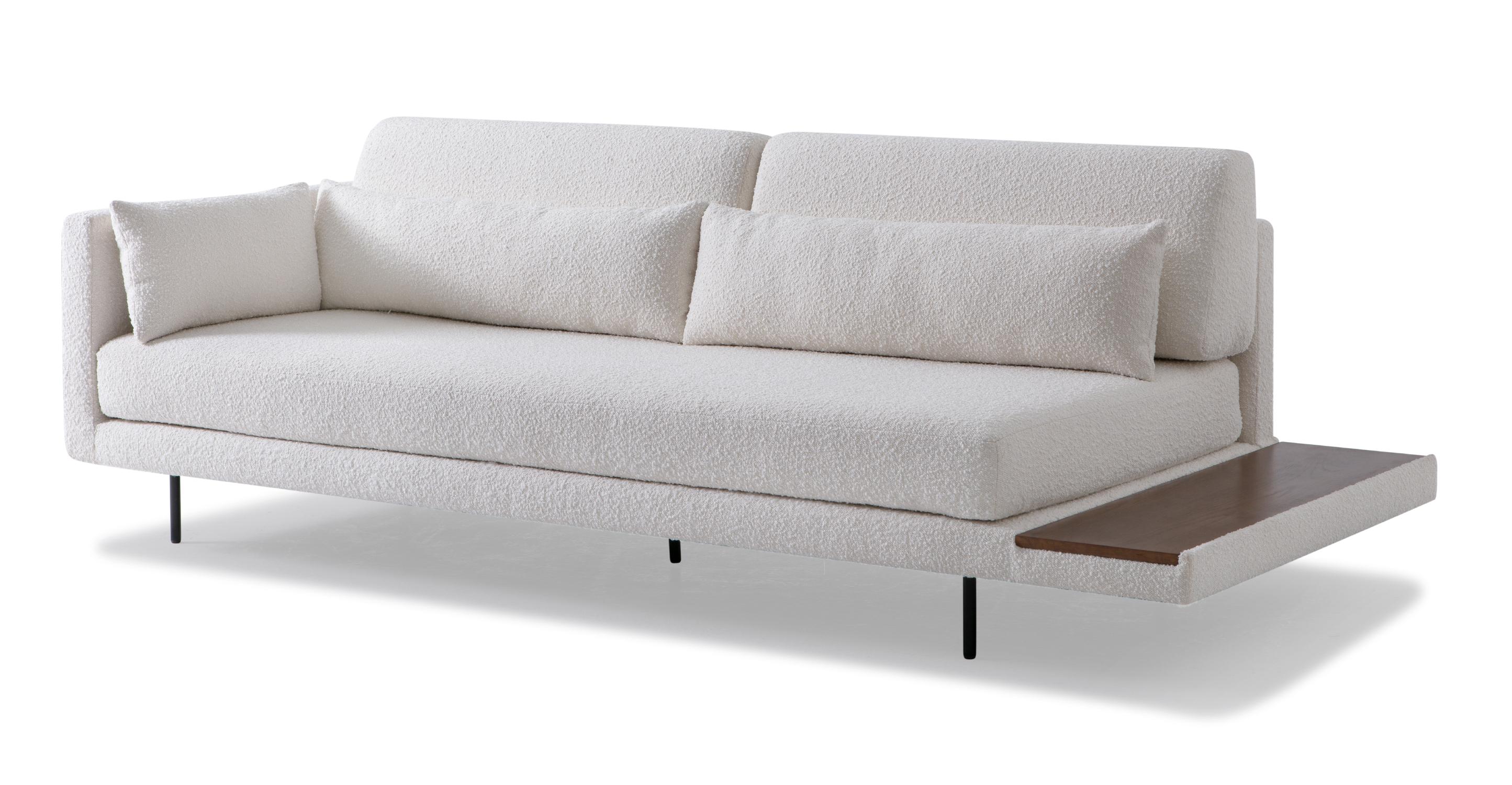 "Davenport 95"" Fabric Sofa Sleeper, Blanc Boucle"