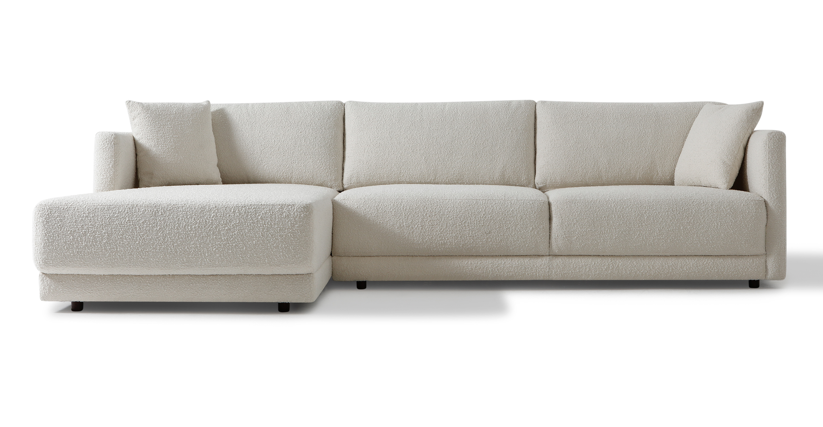 "Domus 115"" Fabric Sofa Sectional Left, Blanc Boucle"