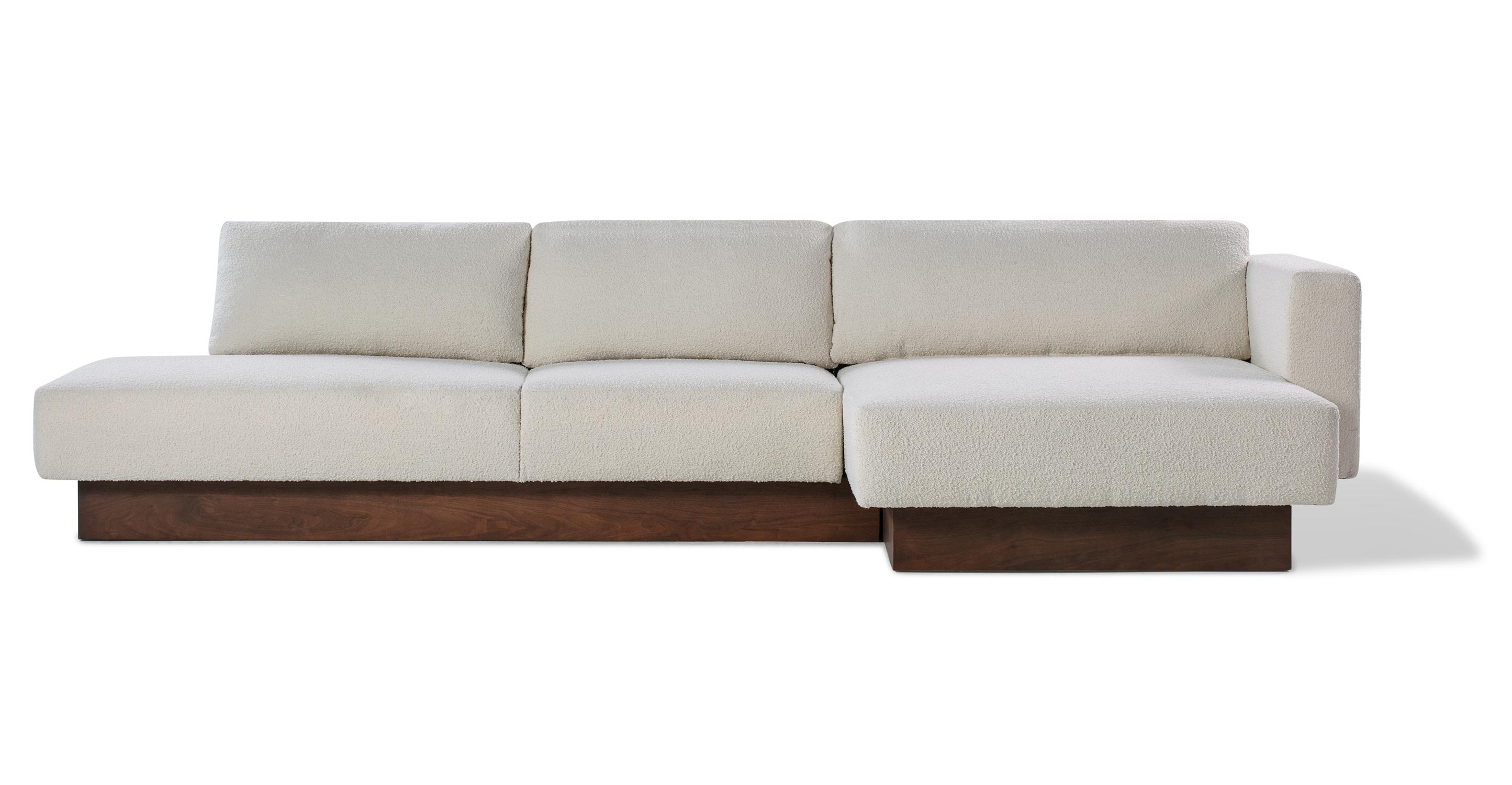 "Brady 128"" Fabric Sofa Sectional Right, Blanc Boucle"
