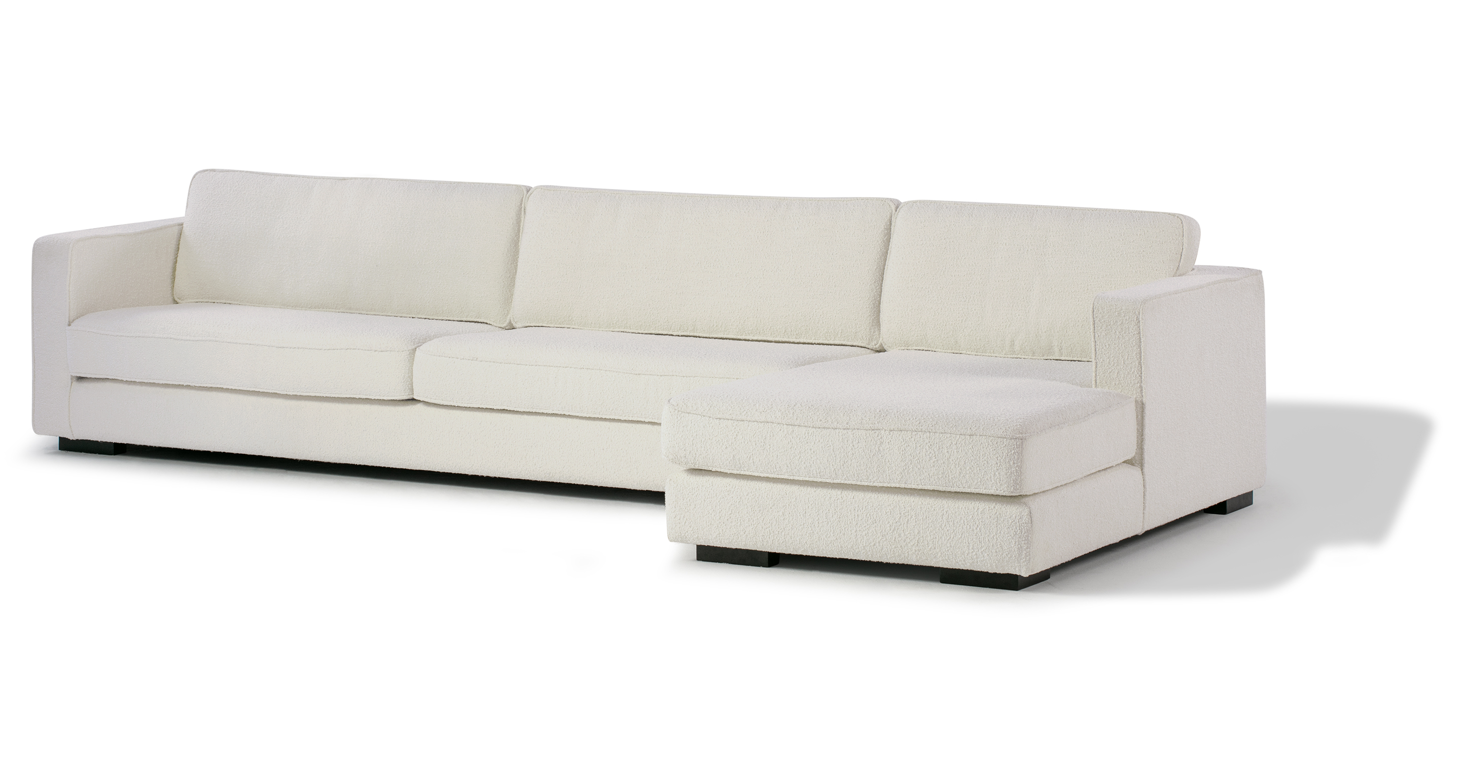 """Architect 133"""" Fabric Sofa Sectional Right, Blanc Boucle"""