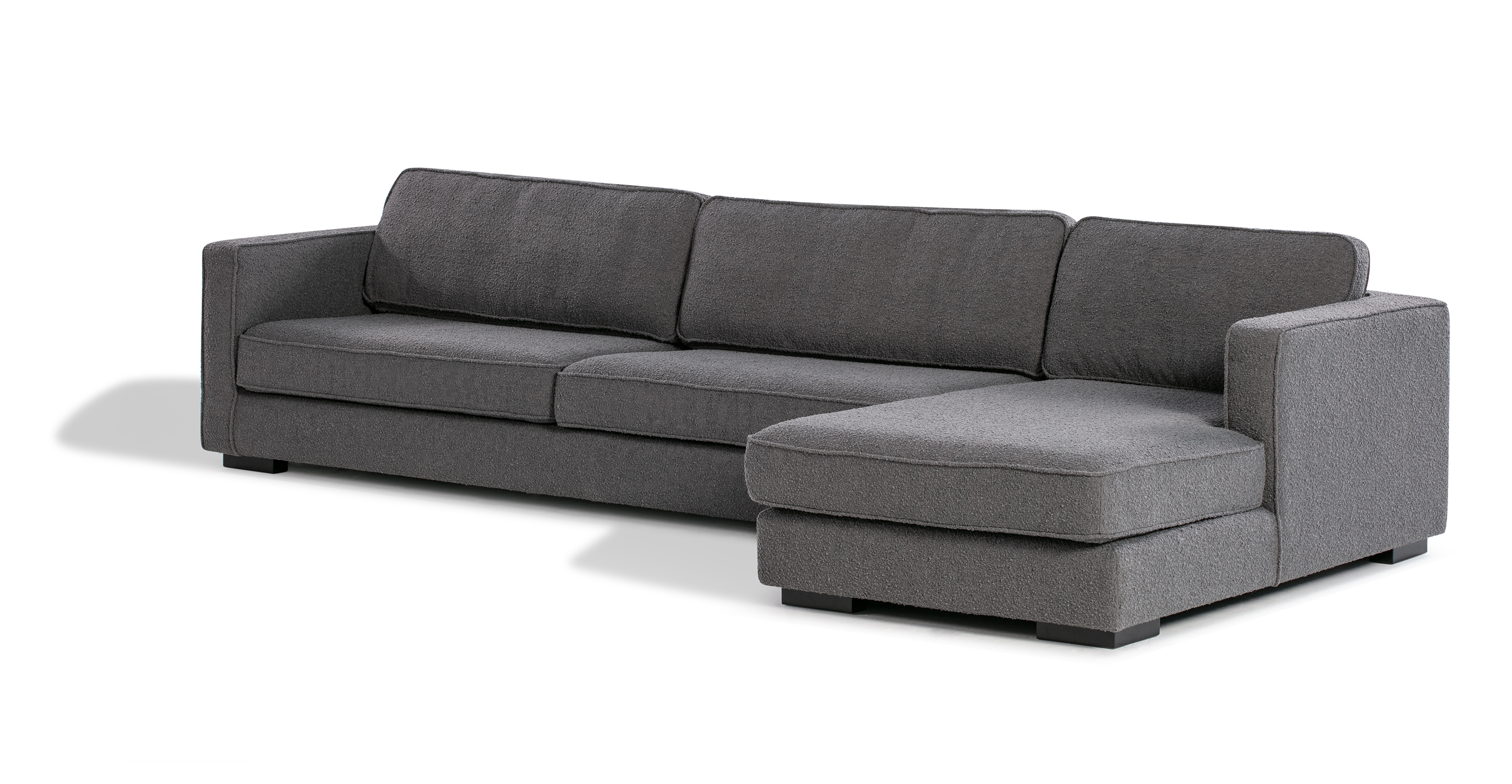 "Architect 133"" Fabric Sofa Sectional Right, Gris Boucle"