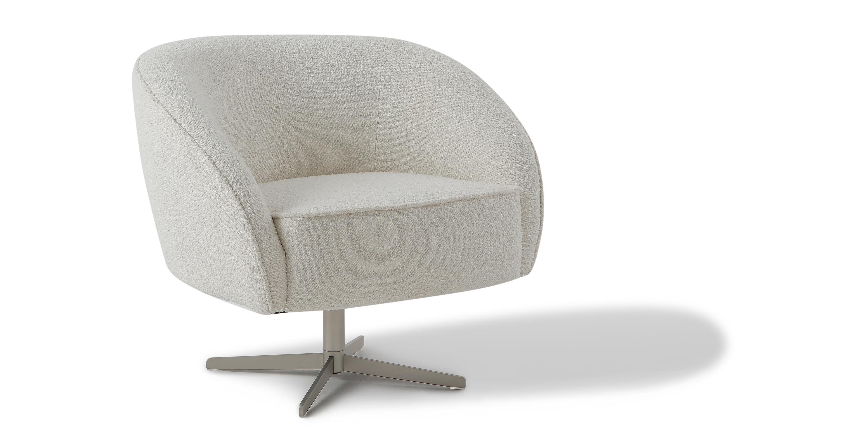 """Aria 34"""" Swivel Chair, Blanc Boucle"""