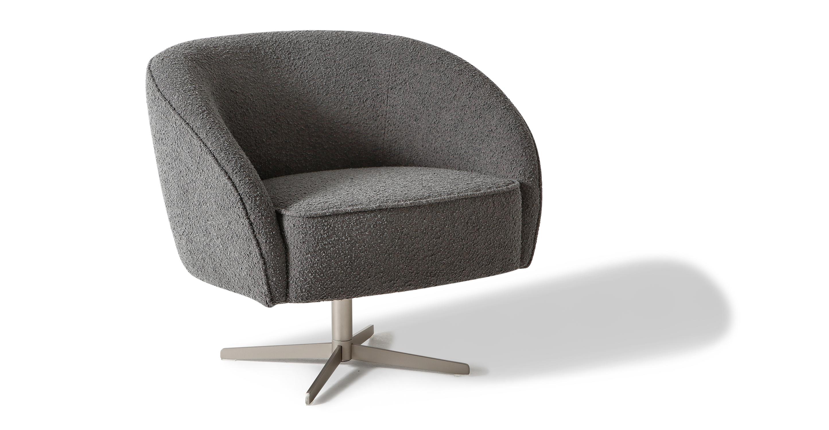 "Aria 34"" Swivel Chair, Gris Boucle"