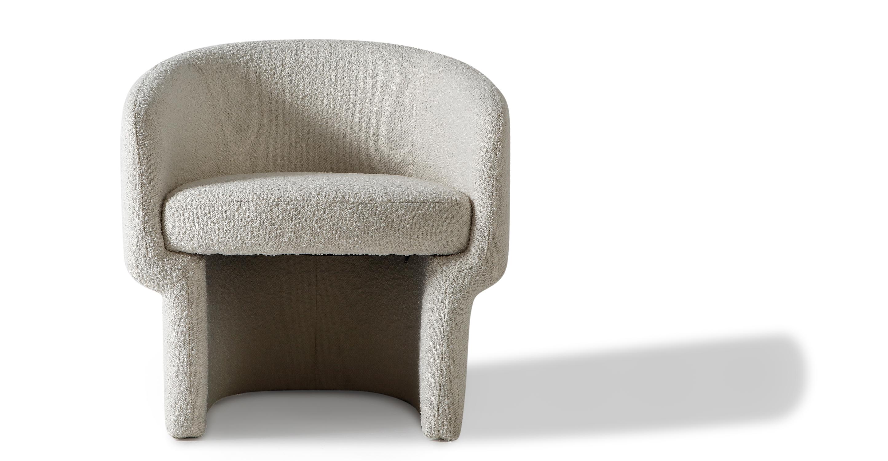 "Ovie 27"" Fabric Chair, Blanc Boucle"