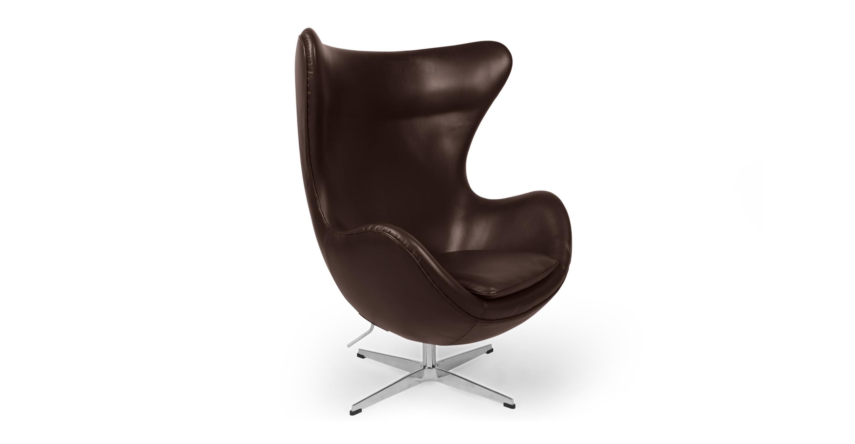 """Amoeba 35"""" Swivel Leather Chair, Choco Brown"""