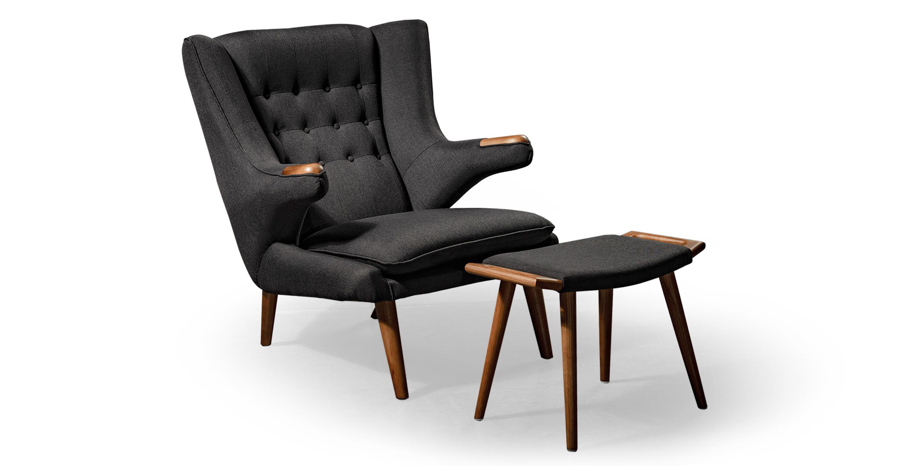 Papa Bear Chair & Ottoman, Urban Ink