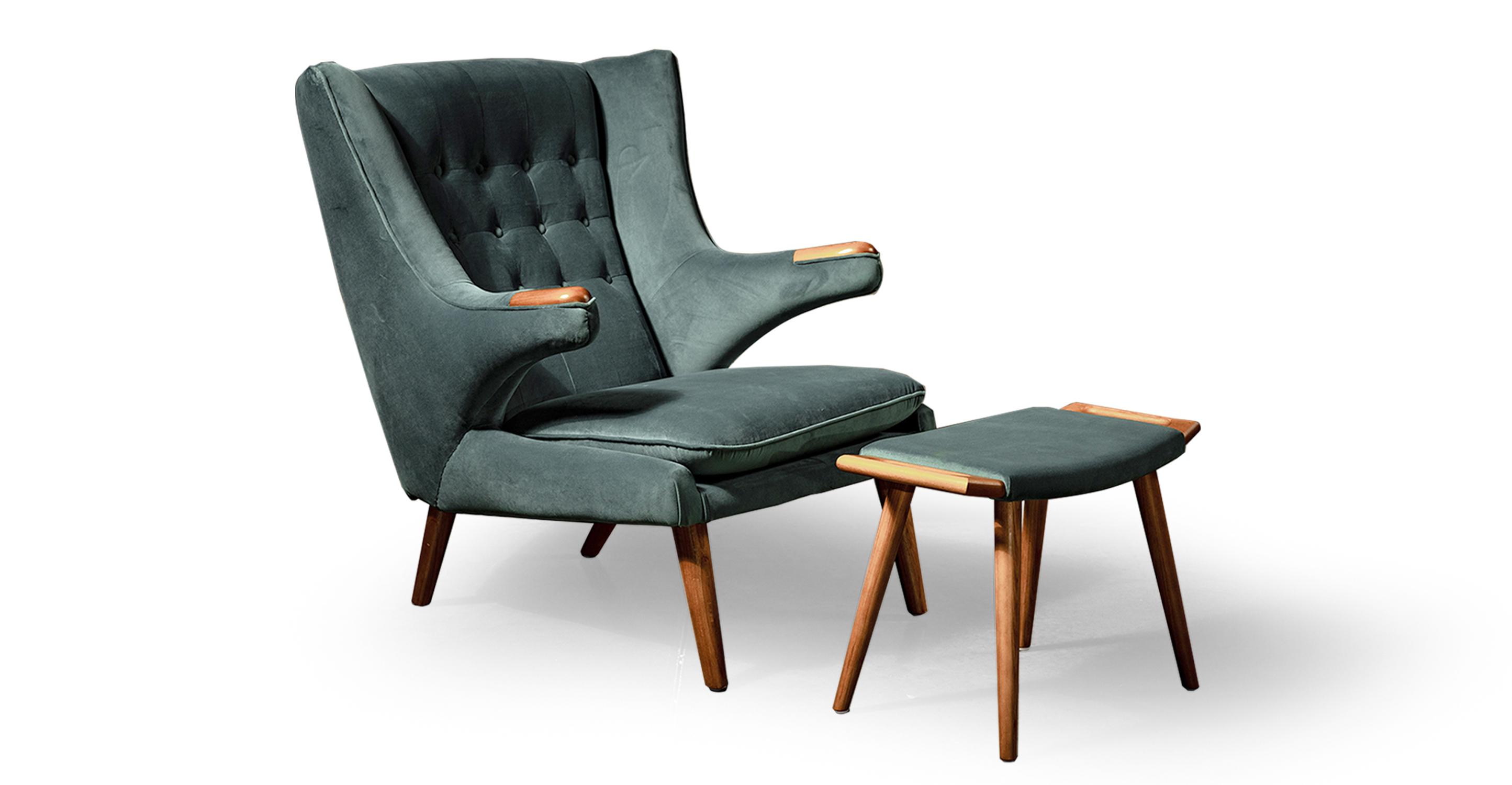 Papa Bear Chair & Ottoman, Neptune Velvet