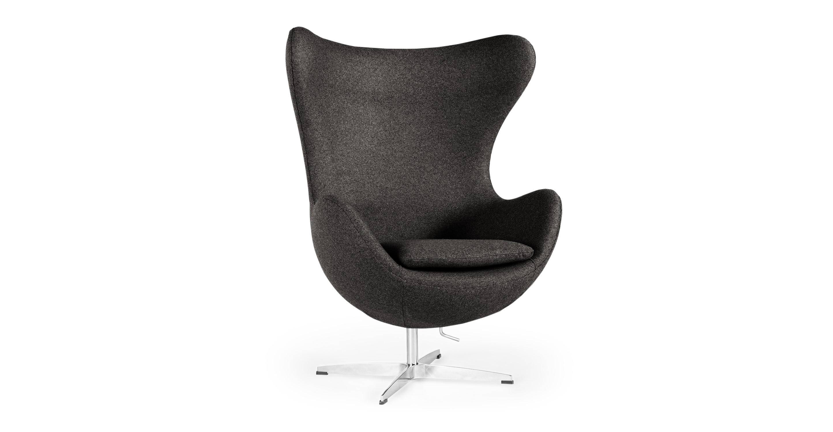 "Amoeba 35"" Swivel Fabric Chair, Charcoal"