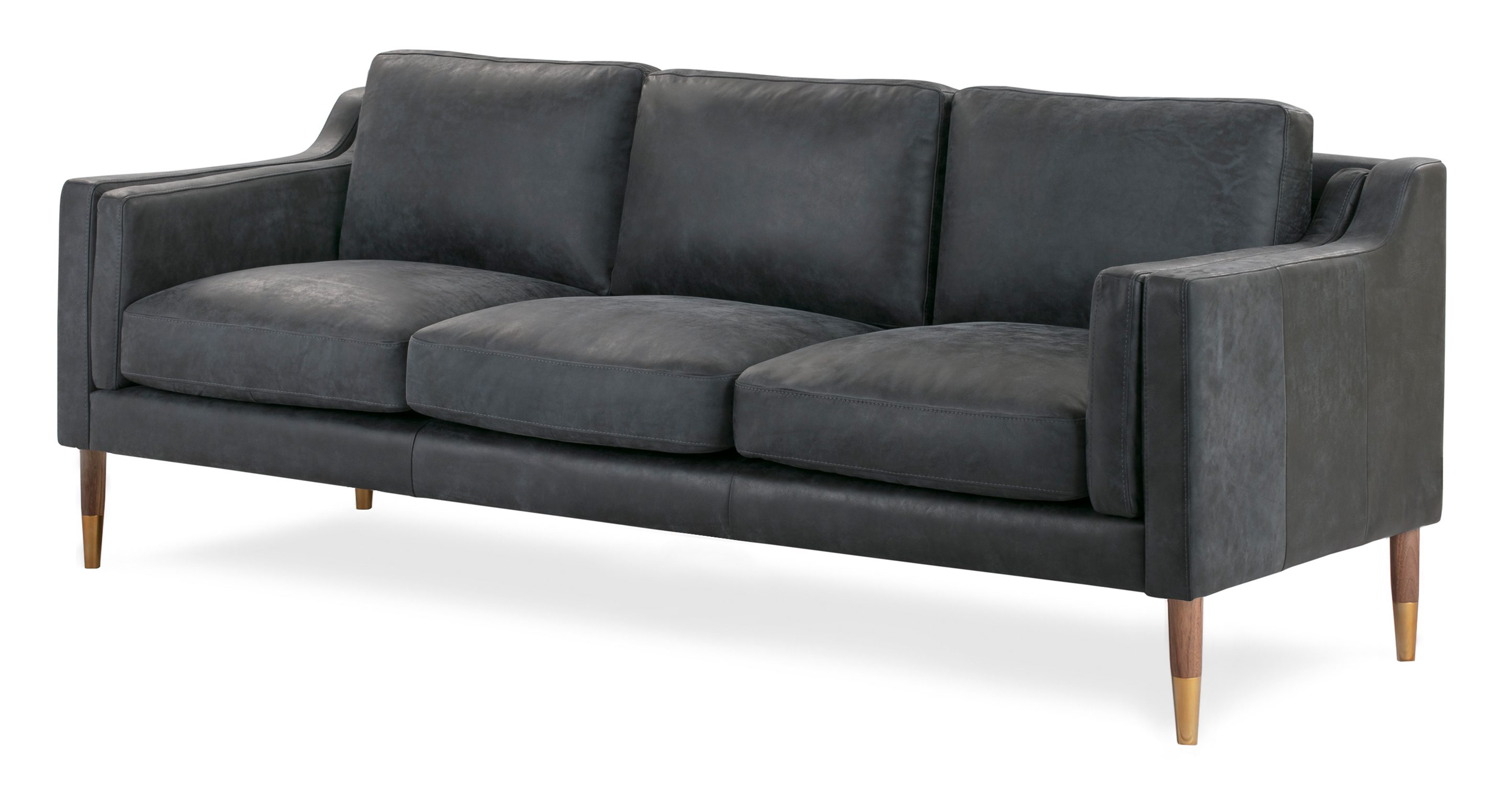 "Monroe Luxe 87"" Leather Sofa, Night"